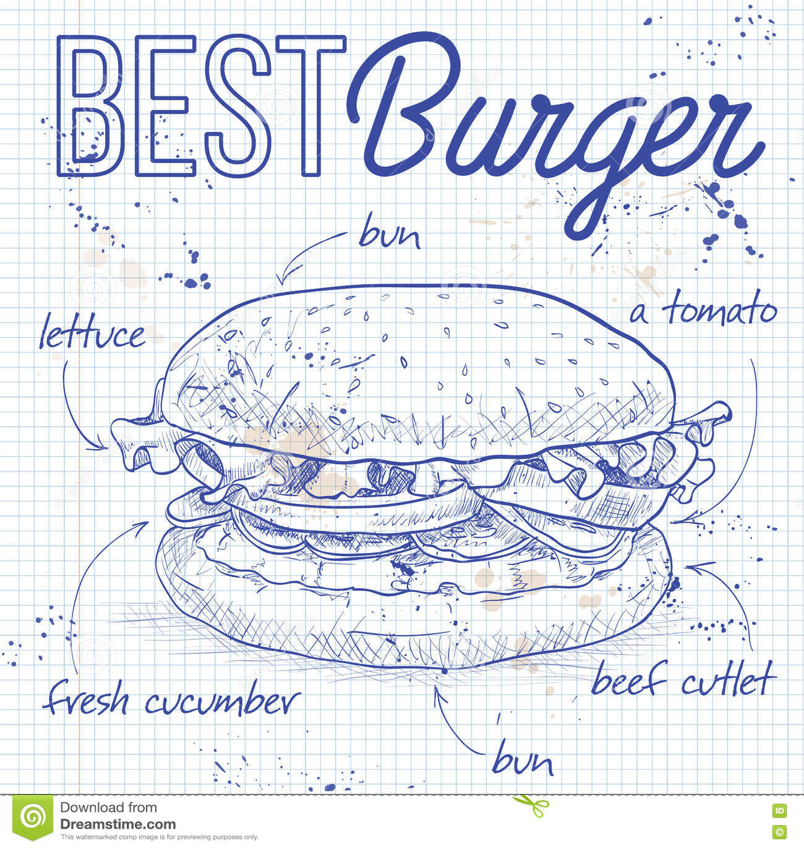 Burger συνταγή σε μια σελίδα σημειωματάριων