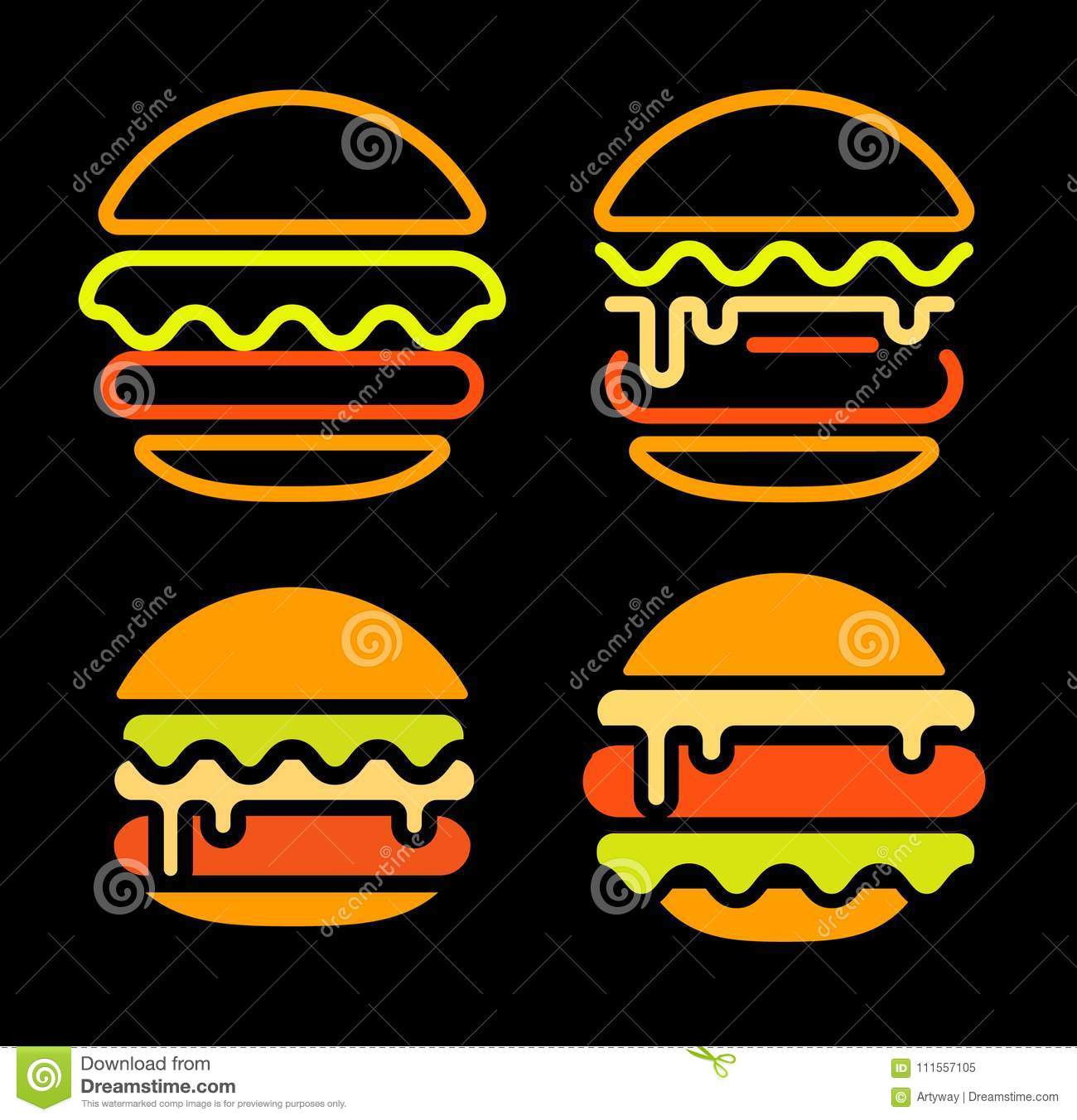 Burger abstract outline vector logo set template, fast food isolated neon line art stylized icon collection, unusual