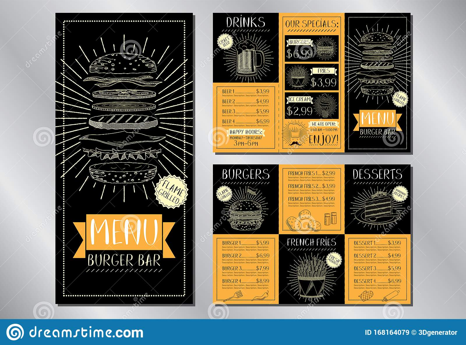 Burger Bar Menu Flyer Template 3 X Dl 99 X 210 Mm Stock