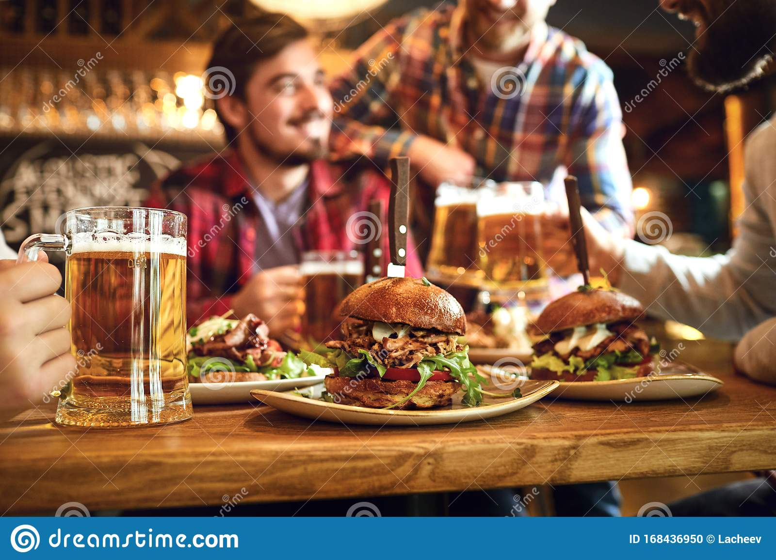 Burger With Beer On The Table In A Bar Pub Stock Photo Image Of Alcohol Meal 168436950