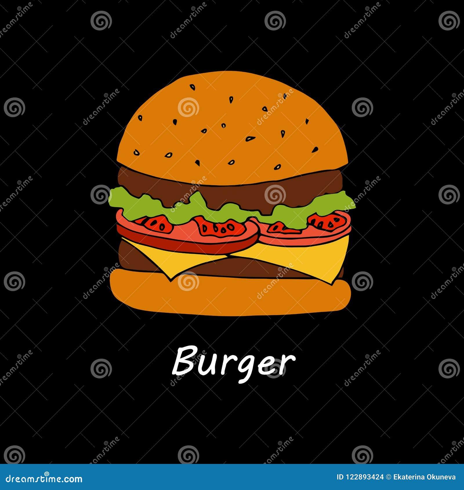 burger on black background. cartoon illustration for menu card