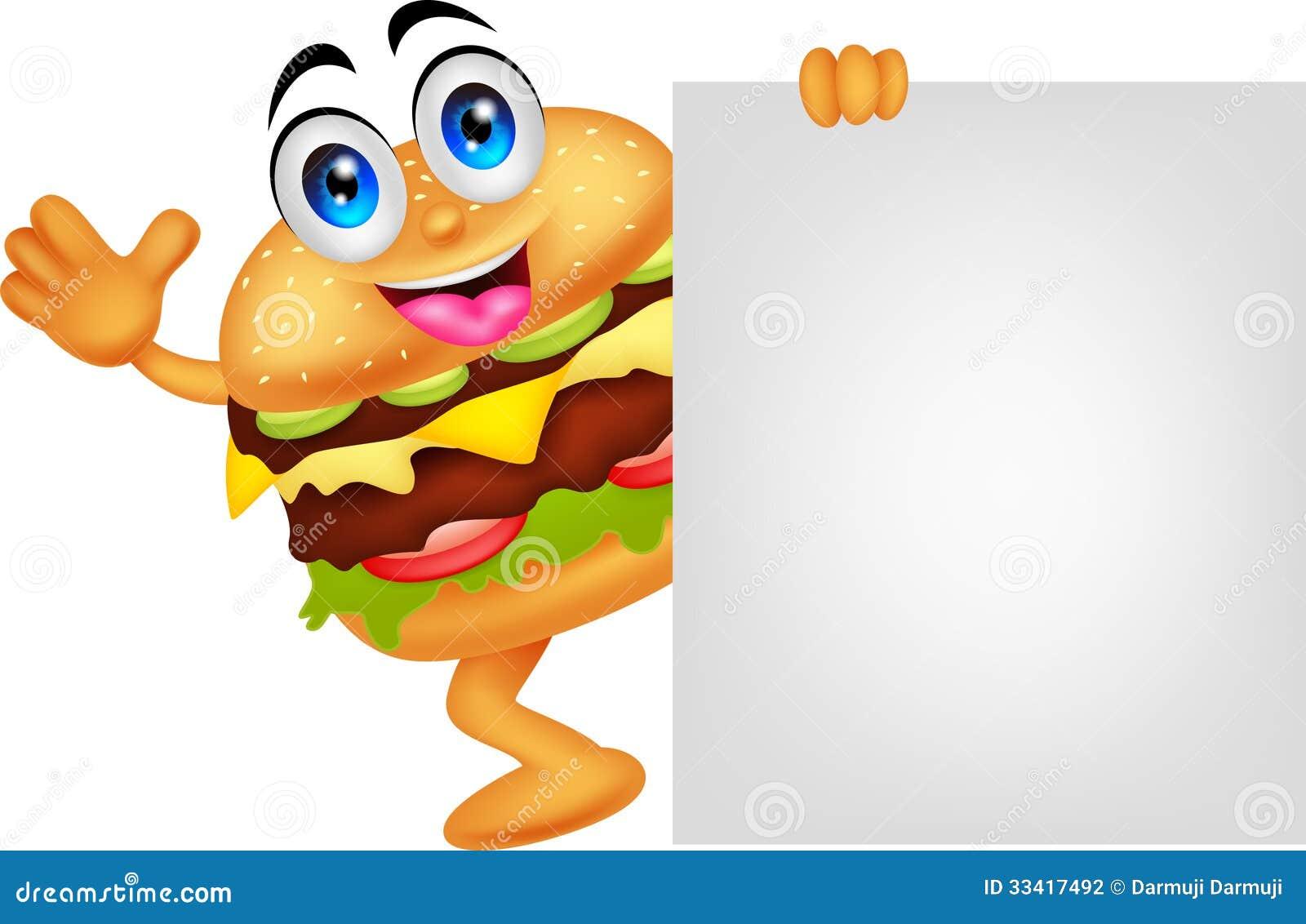 Burger Cartoon Characters With Blank Sign Stock ... Uberhaxornova Animated Classics Hot Dog