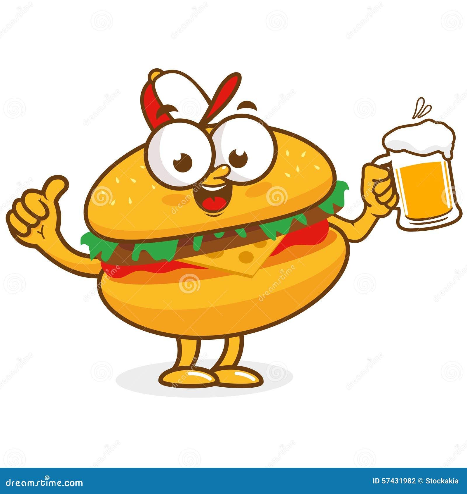 Burger Character Holding Beer Stock Vector - Image: 57431982 Hamburger And Hot Dog Clip Art