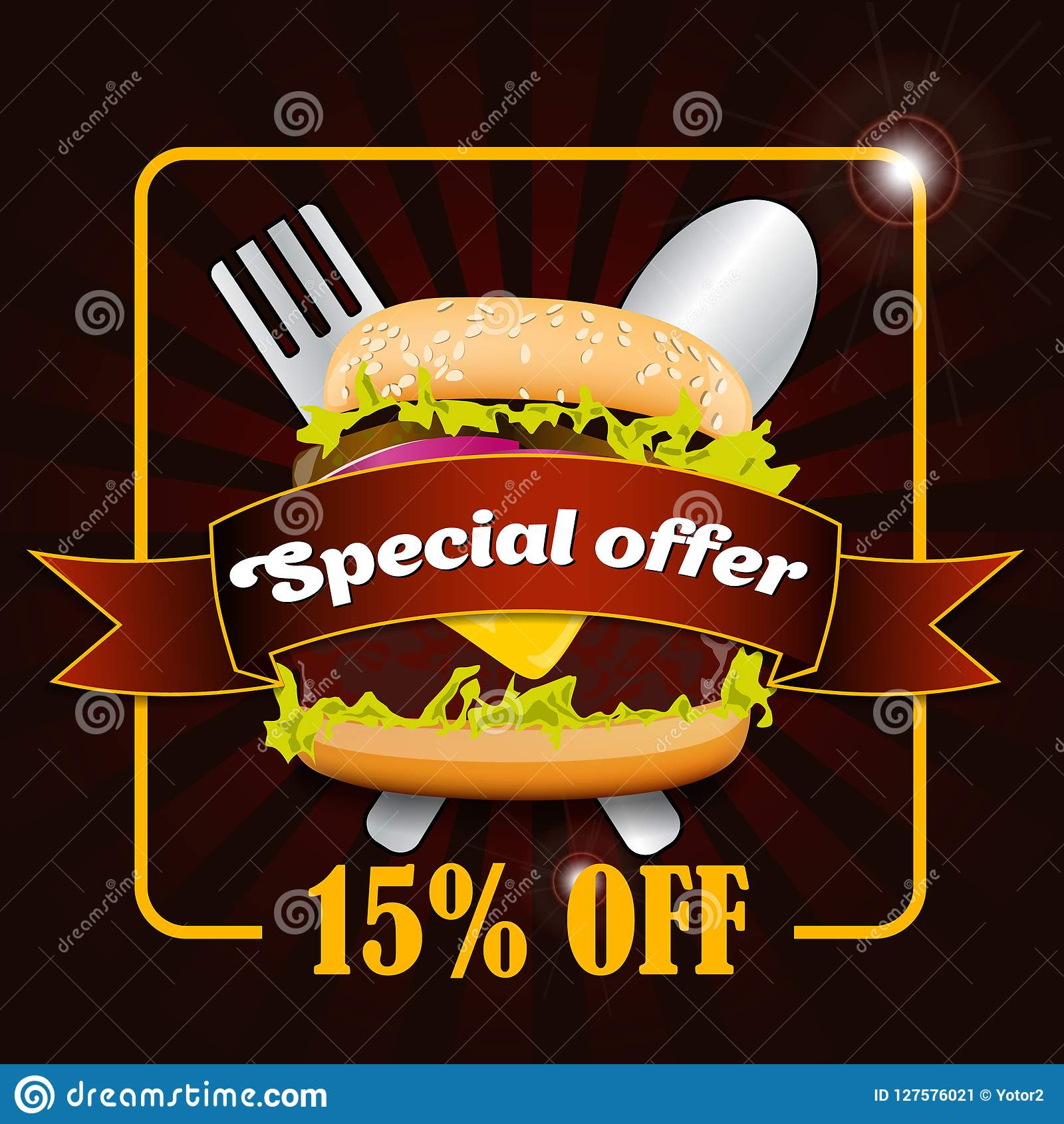 burger discount fast food sale flyer design vector template in a4