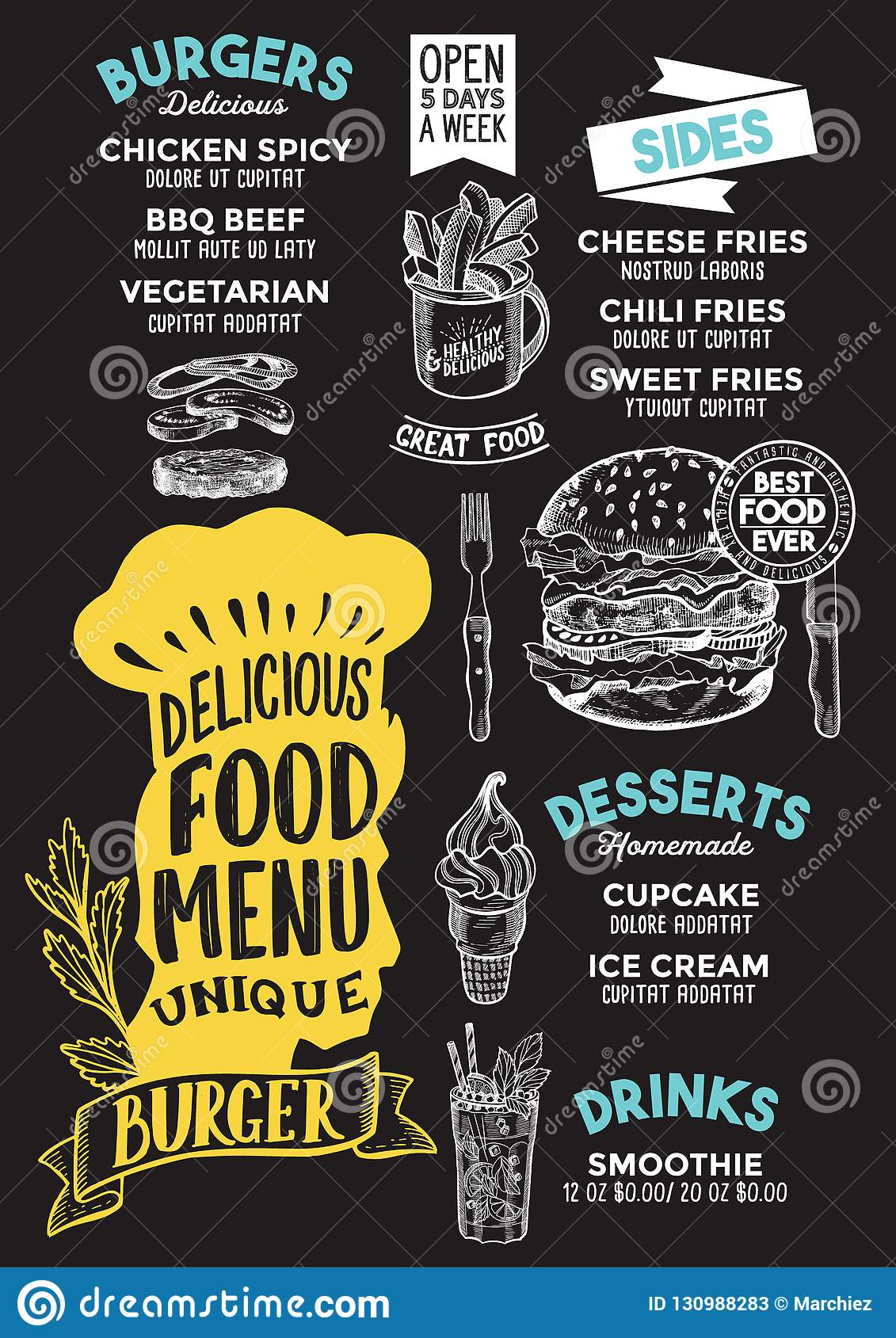 burger food menu template for restaurant with chefs hat letterin