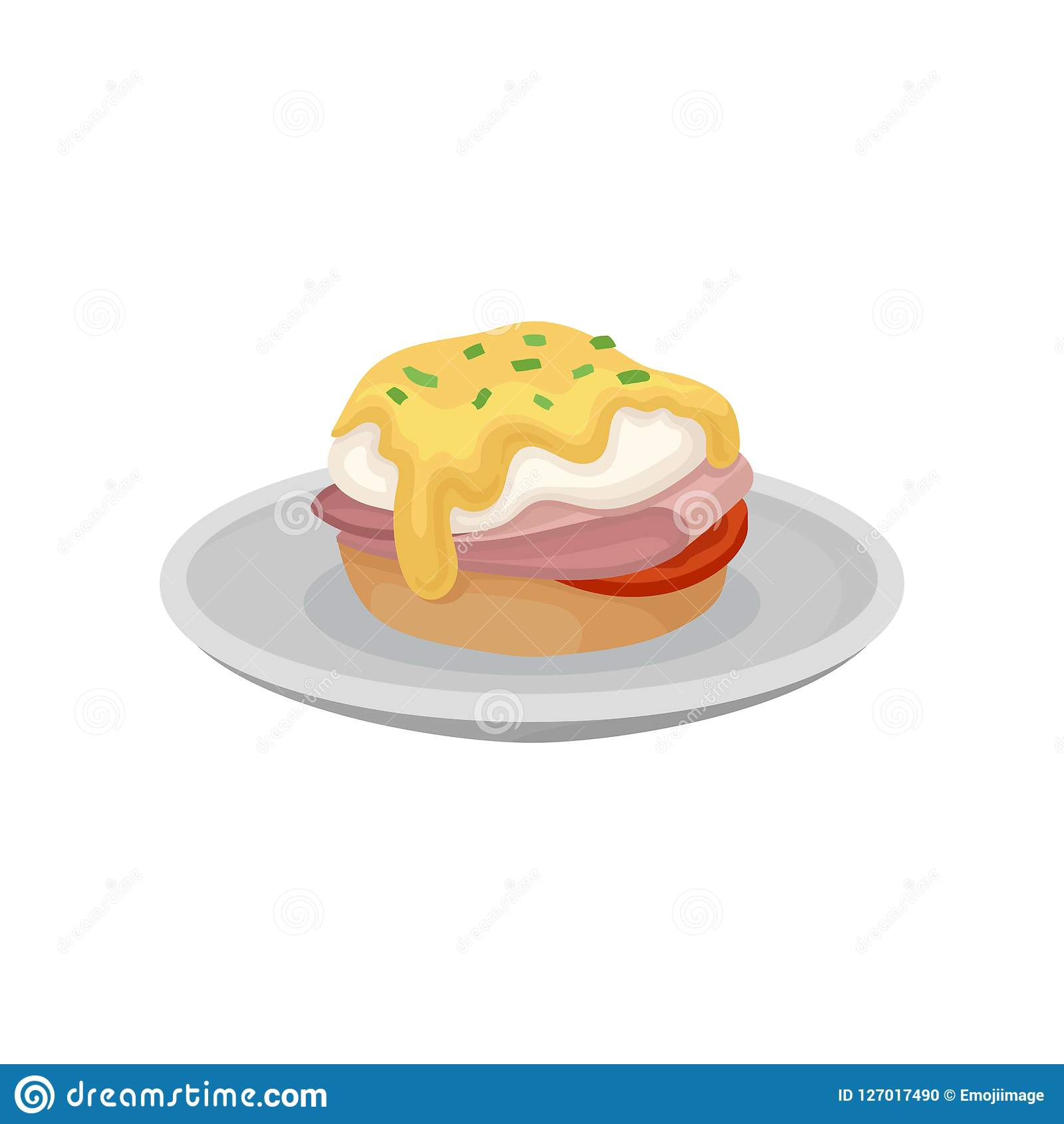 Burger With Fried Egg On A Plate Fresh Nutritious Breakfast Food Design Element For Menu Cafe Restaurant Vector Stock Vector Illustration Of Cook Healthy 127017490