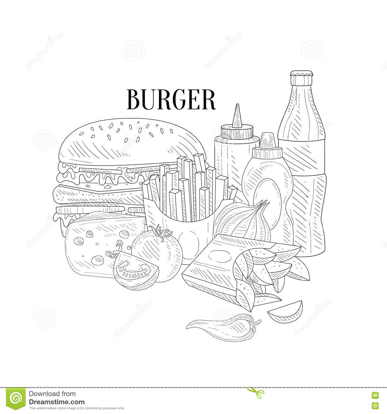 Burger fries and soda fast food lunch hand drawn realistic detailed sketch in classy simple pencil style on white background