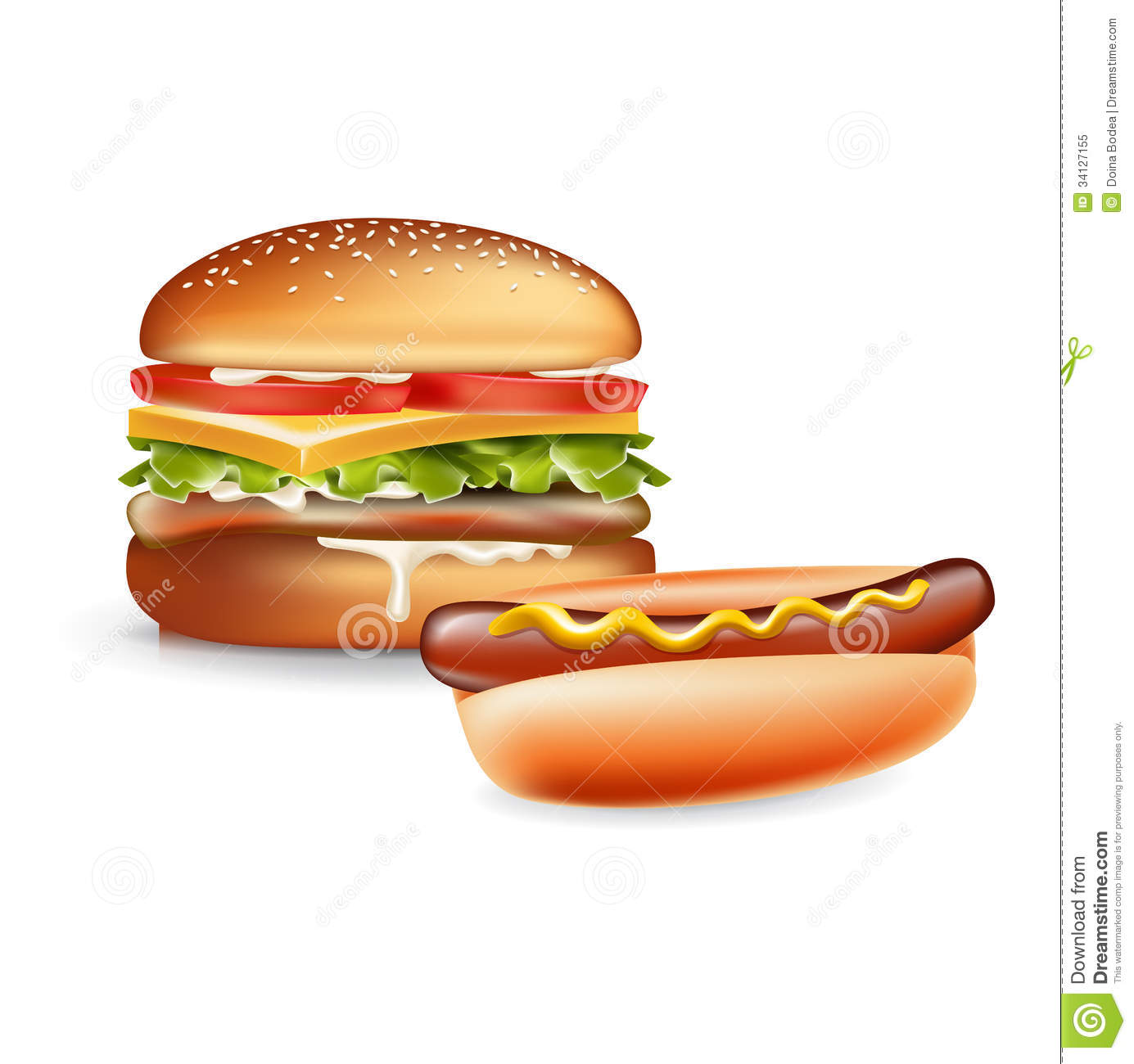 burger and hot dog isolated on white royalty free stock photo image 34127155. Black Bedroom Furniture Sets. Home Design Ideas