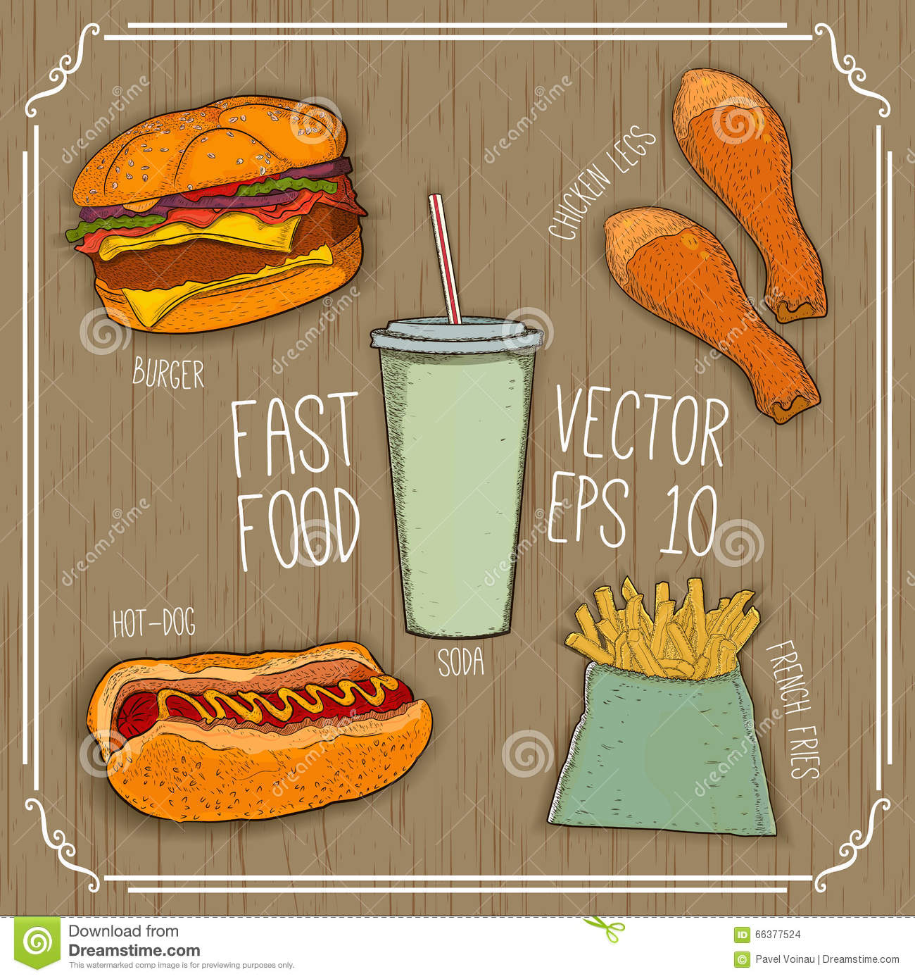 Burger, Hot-dog, Soda, French Fries, Chicken Legs On Wooden ...