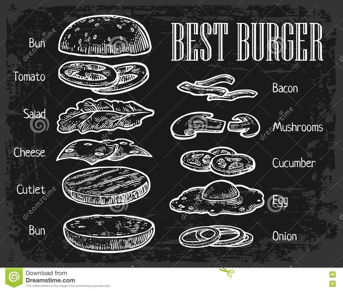 burger ingredients on chalkboard  painted components stock