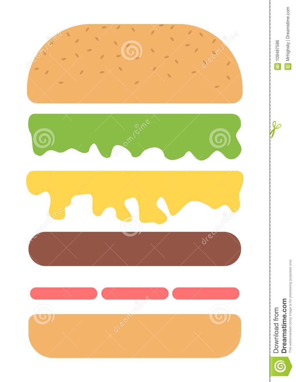 Burger Ingredients Layers Style Poster Stock Vector