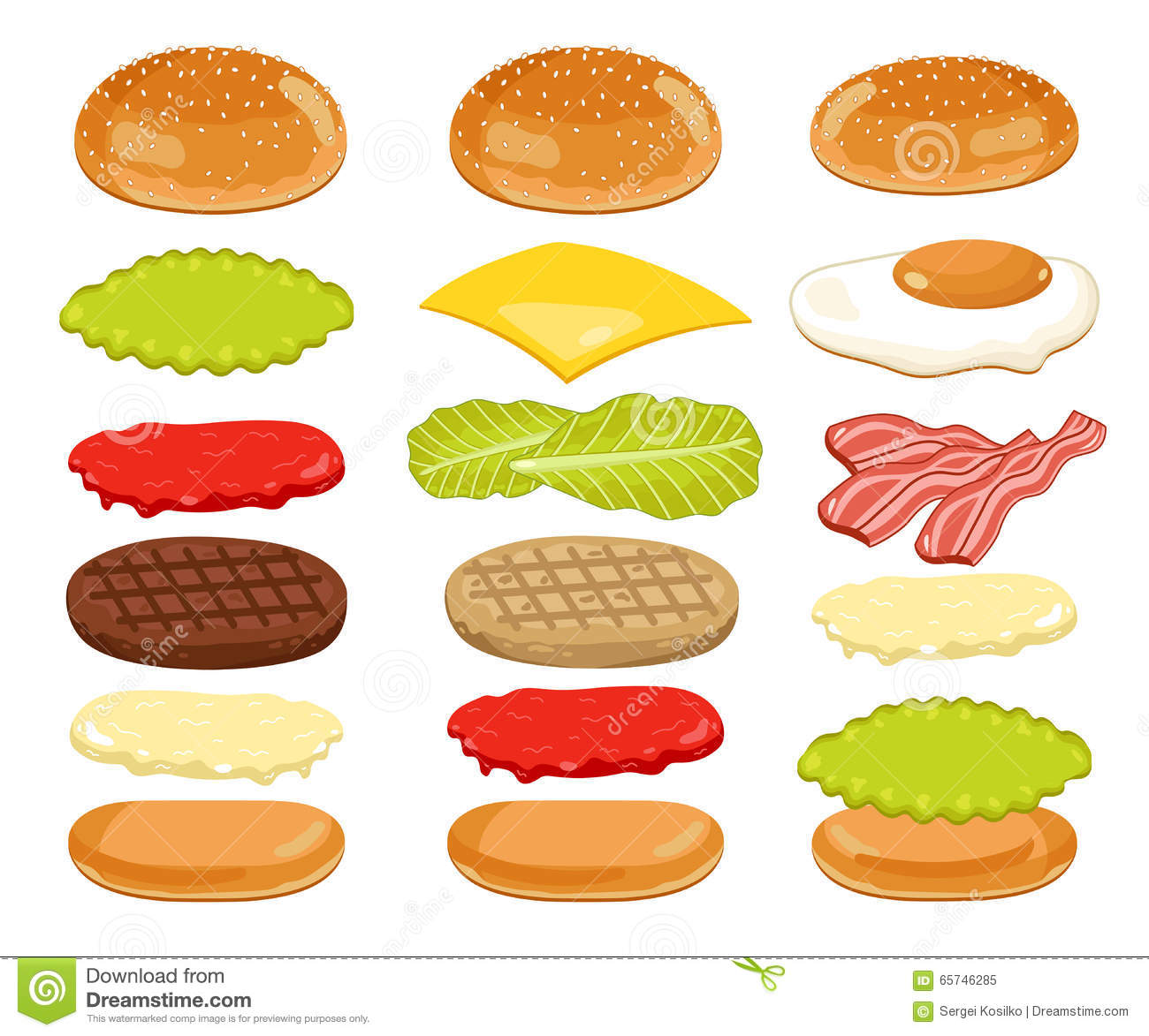 hamburger clip art ingredients � cliparts