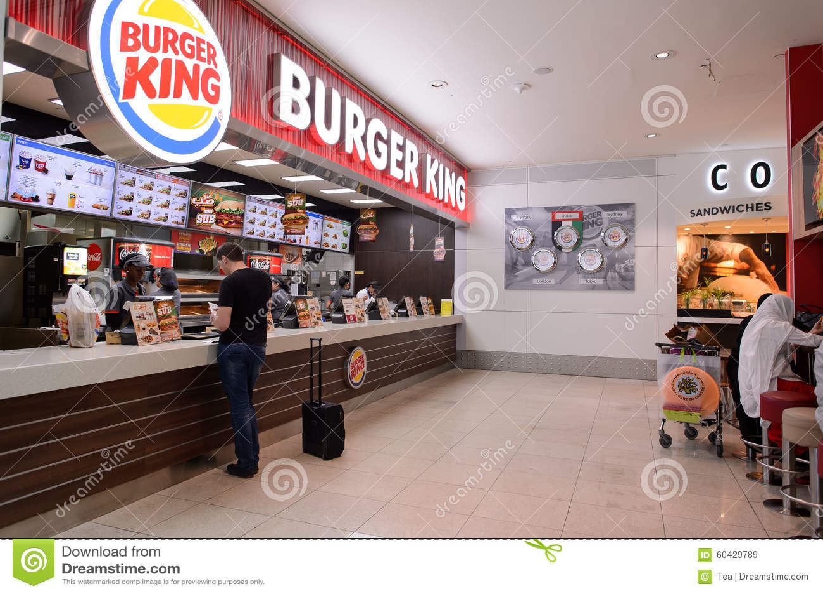 Burger king restaurant interior editorial stock image