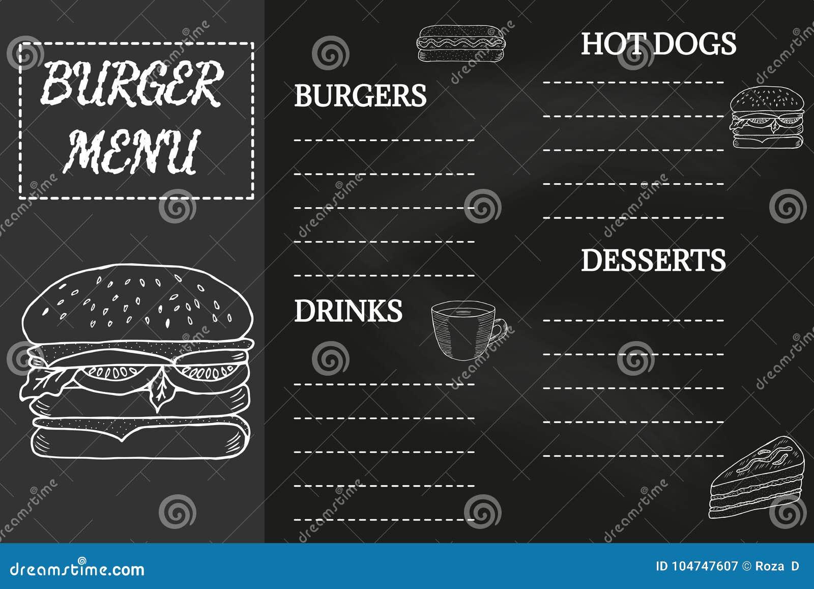 burger menu chalkboard stock vector illustration of card 104747607