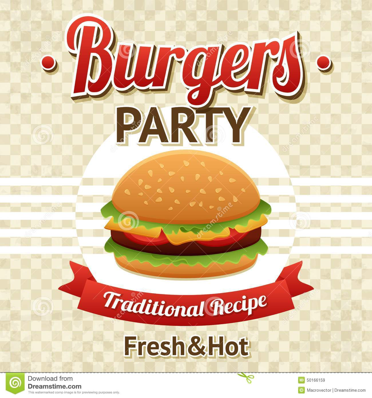 Burger Party Poster Stock Vector Image 50166159