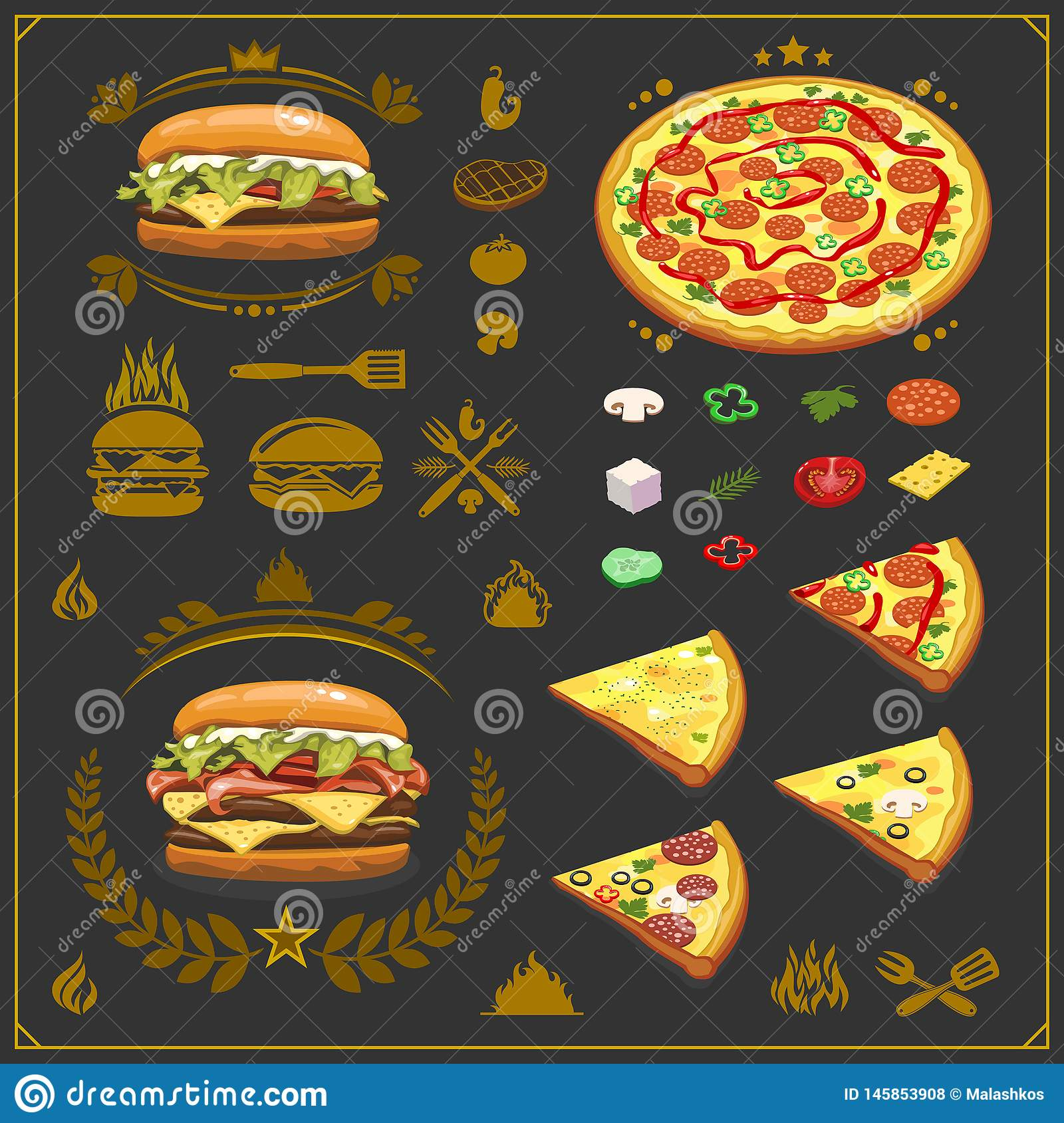 Burger Pizza And Bbq Emblems Labels And Design Elements Fast Food Restaurant Logo Design Template Stock Vector Illustration Of House Pizza 145853908