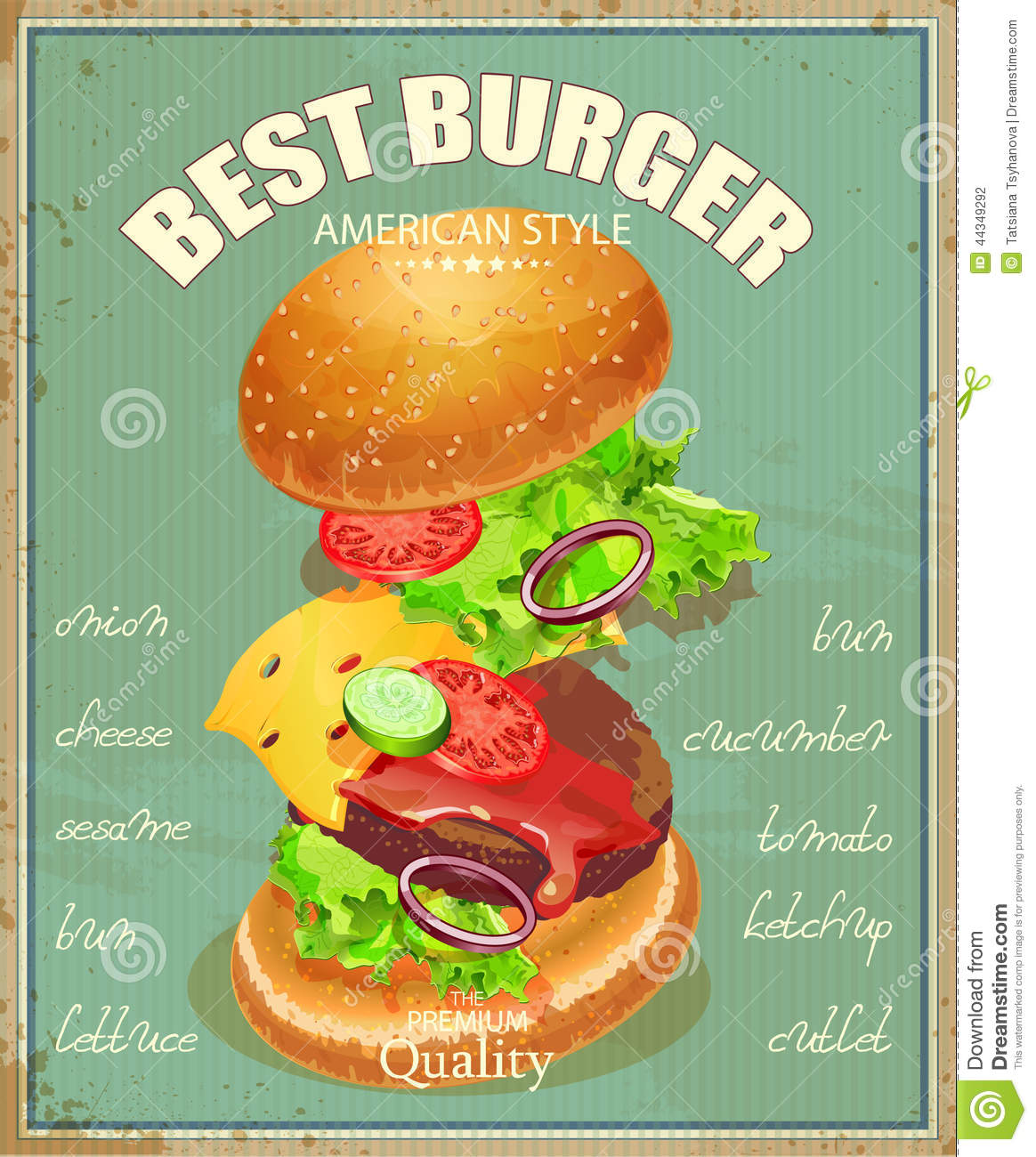 Burger Poster In American Traditional Vintage Style Stock