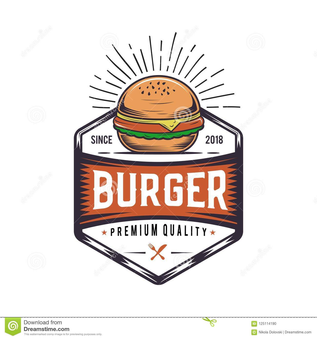Retro Burger Joint Vintage Fast Food Illustration Logo Cheeseburger Design Stock Illustration Illustration Of Hipster Fast 125114190