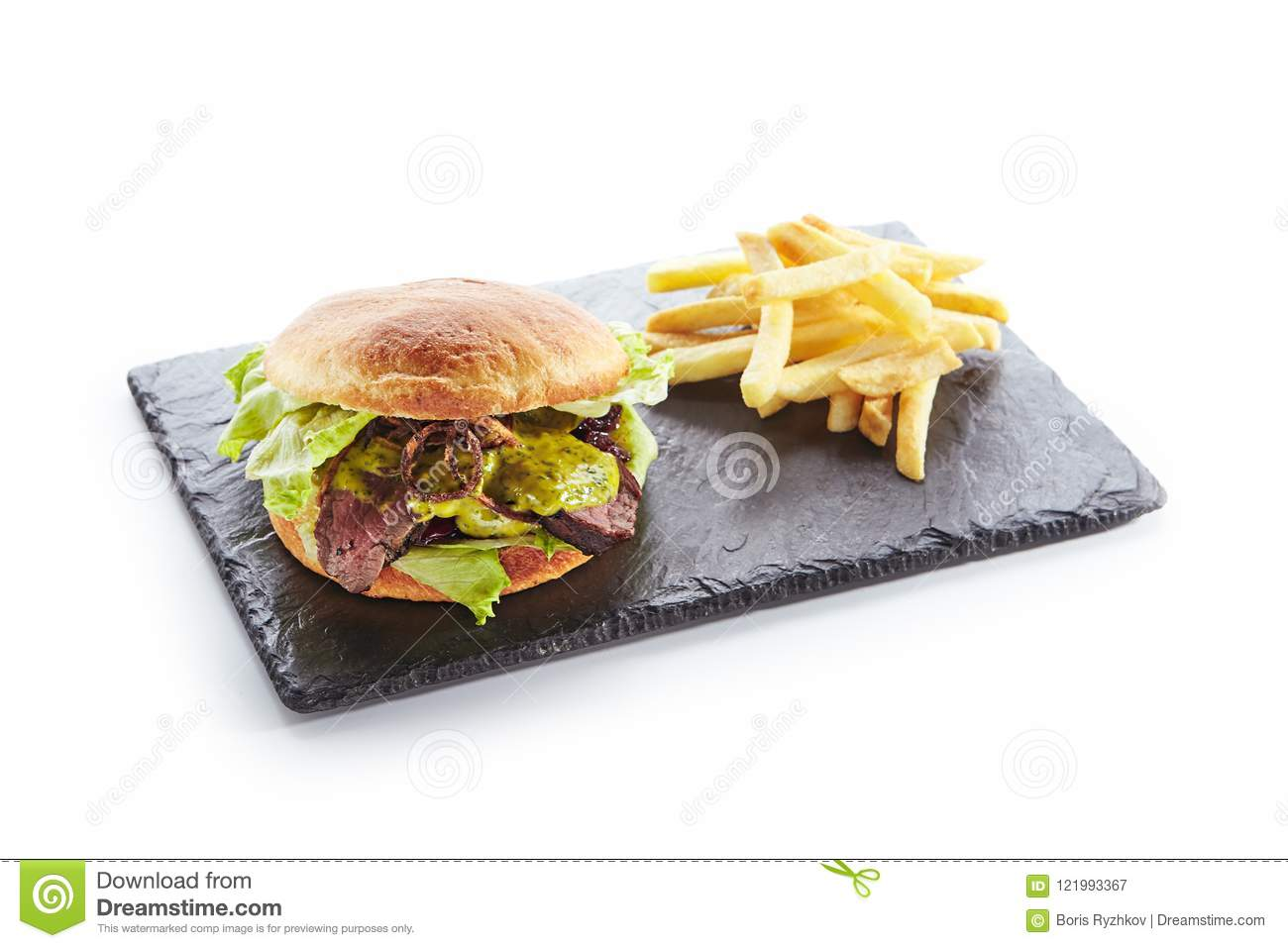 Burger with Roast Beef , Mustard and French Fries Garnish
