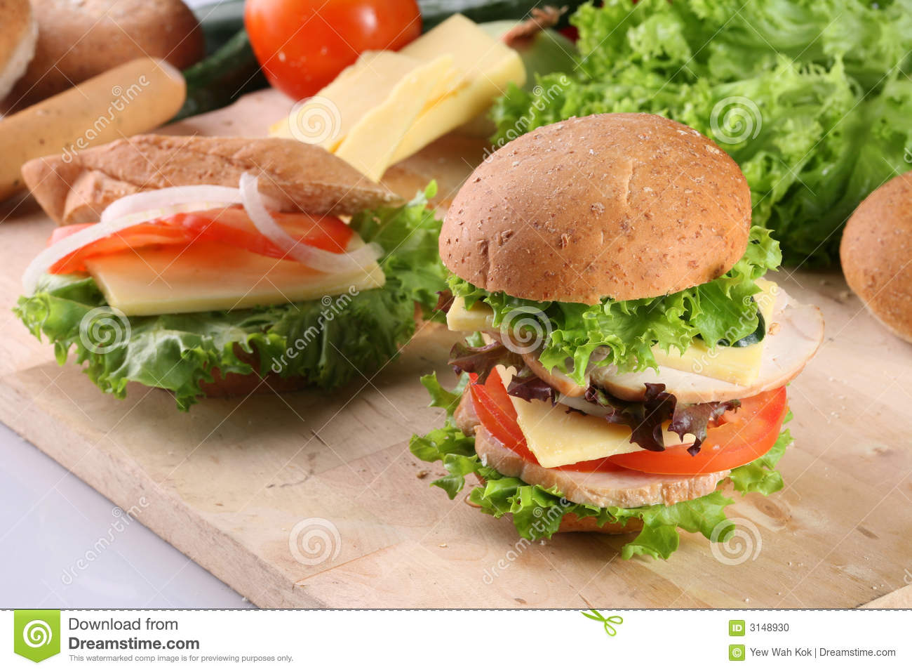 Burger and sandwich