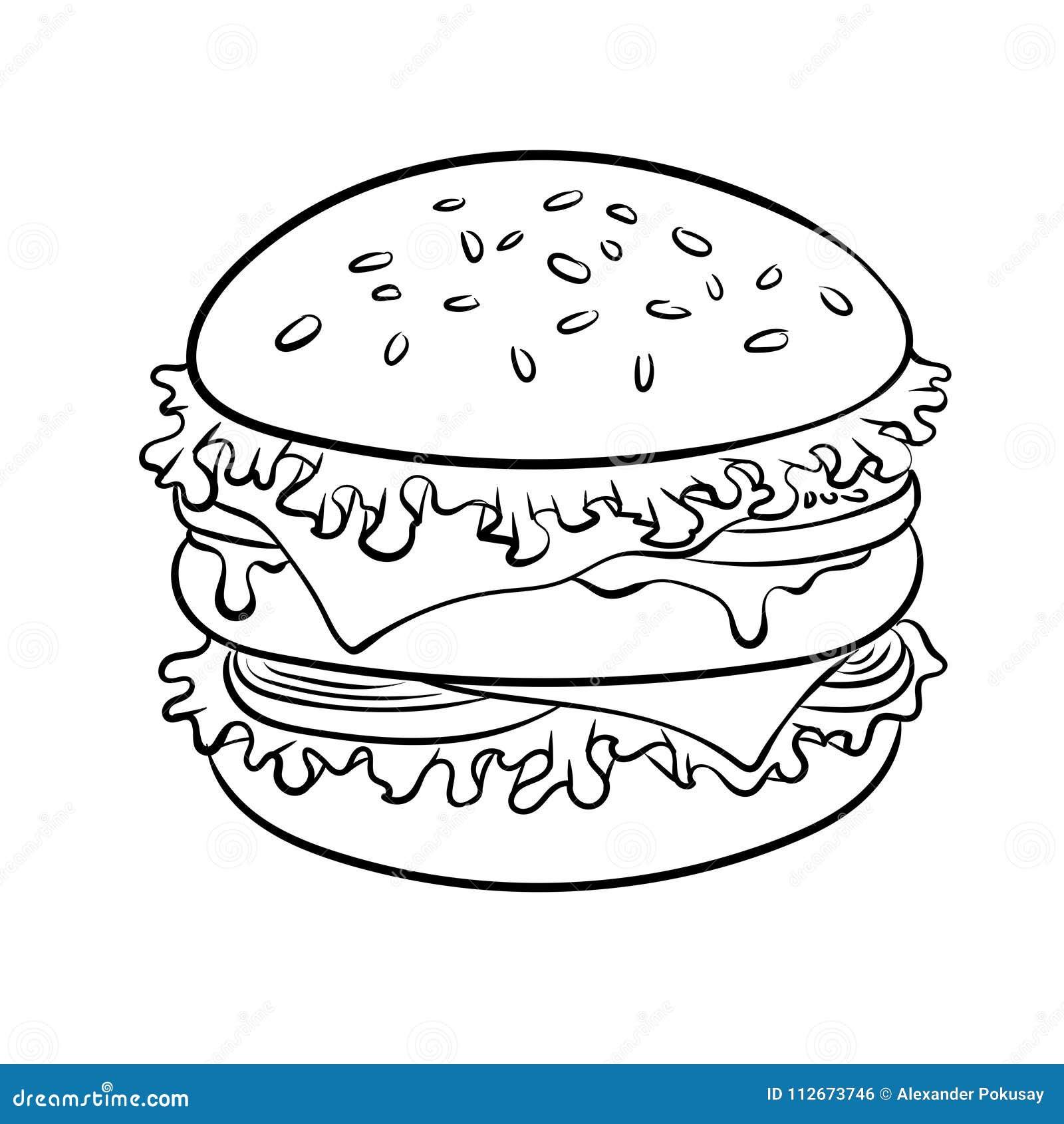 Burger Sandwich Coloring Book Vector Stock Vector Illustration
