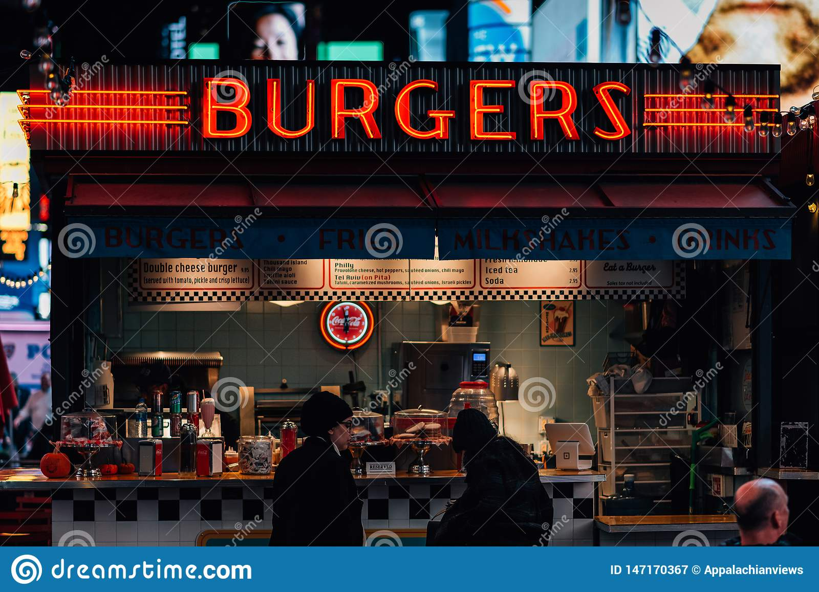 Burger Stand at Times Square, in Midtown Manhattan, New York City