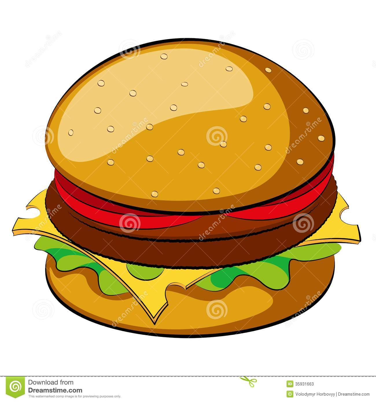 Burger on white background. Vector illustration. Clip-art.