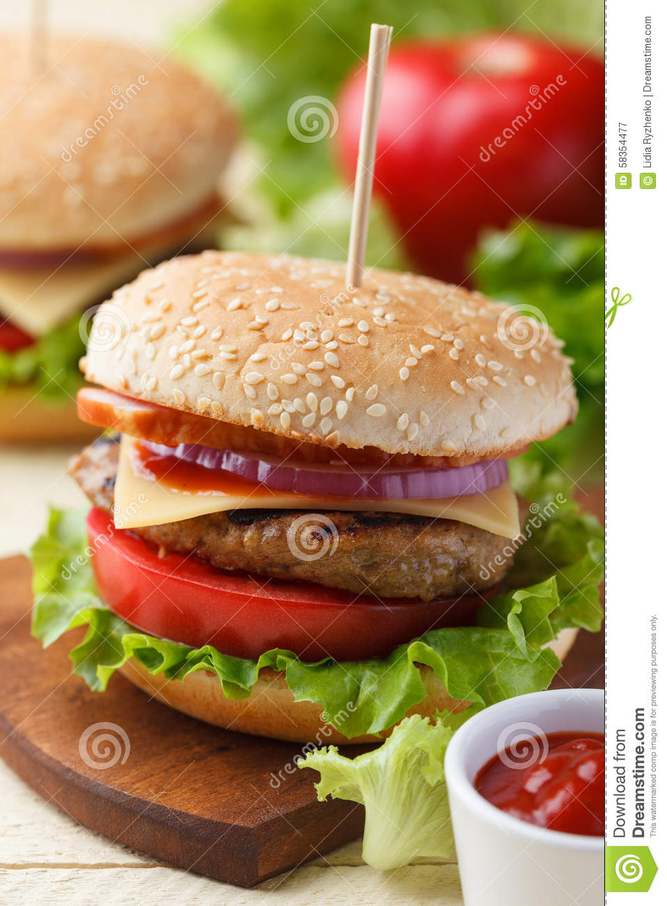 Burger on the wooden table stock photo image 58354477 for Table burger