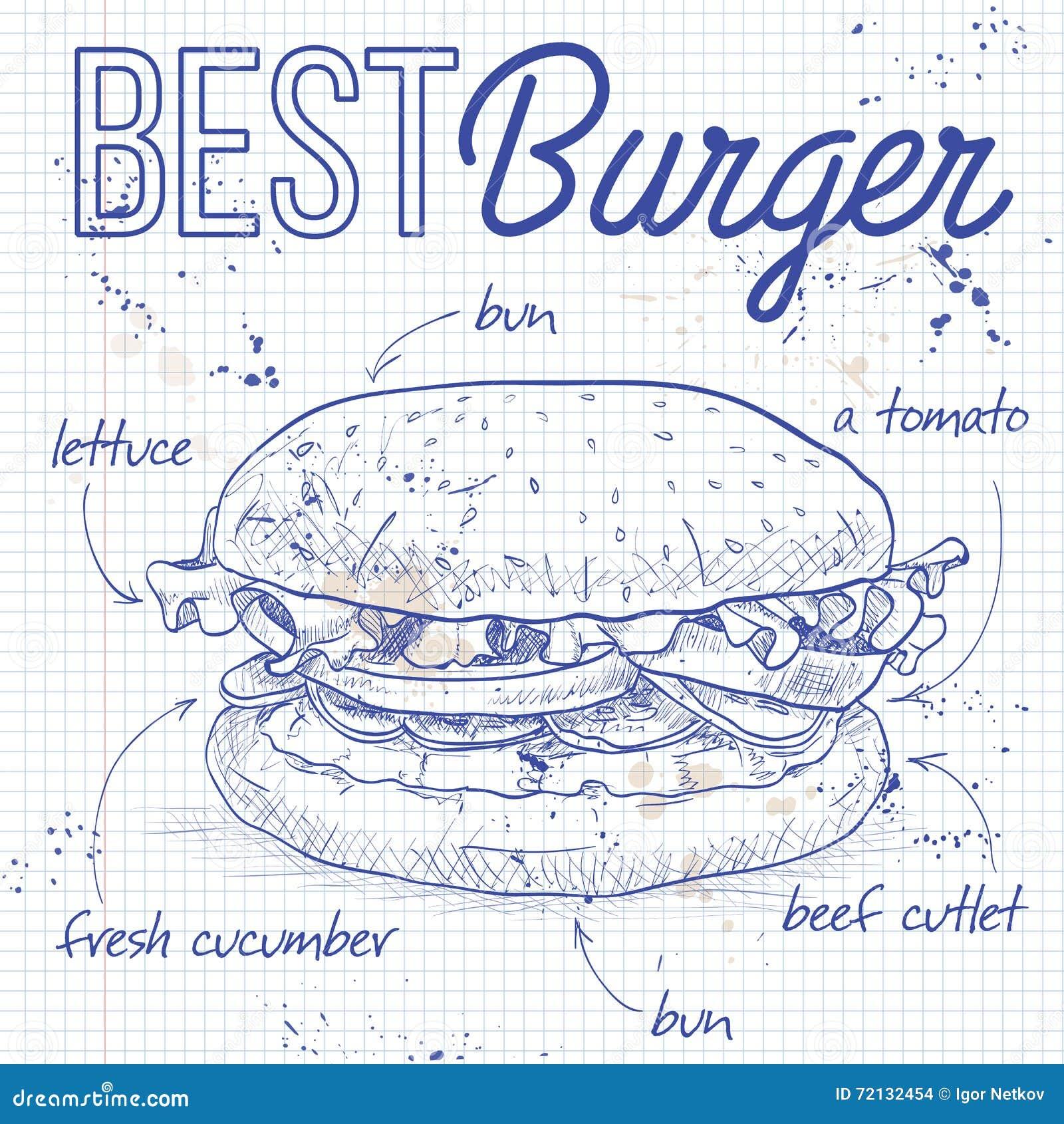 Burgerrezept auf einer Notizbuchseite