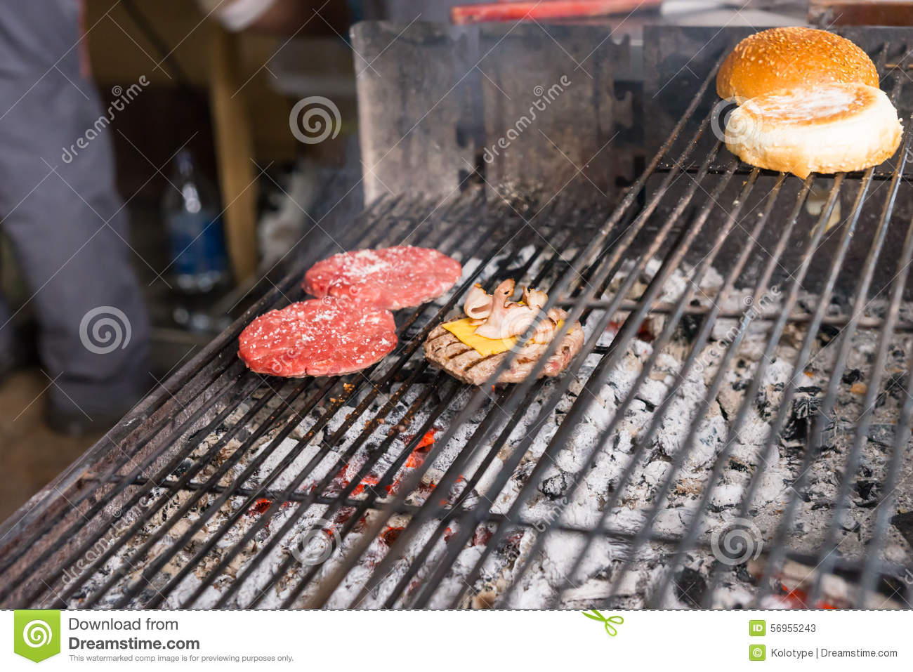 Burgers Cooking On Hot Charcoal Grill Stock Image Image Of Making Charcoal 56955243