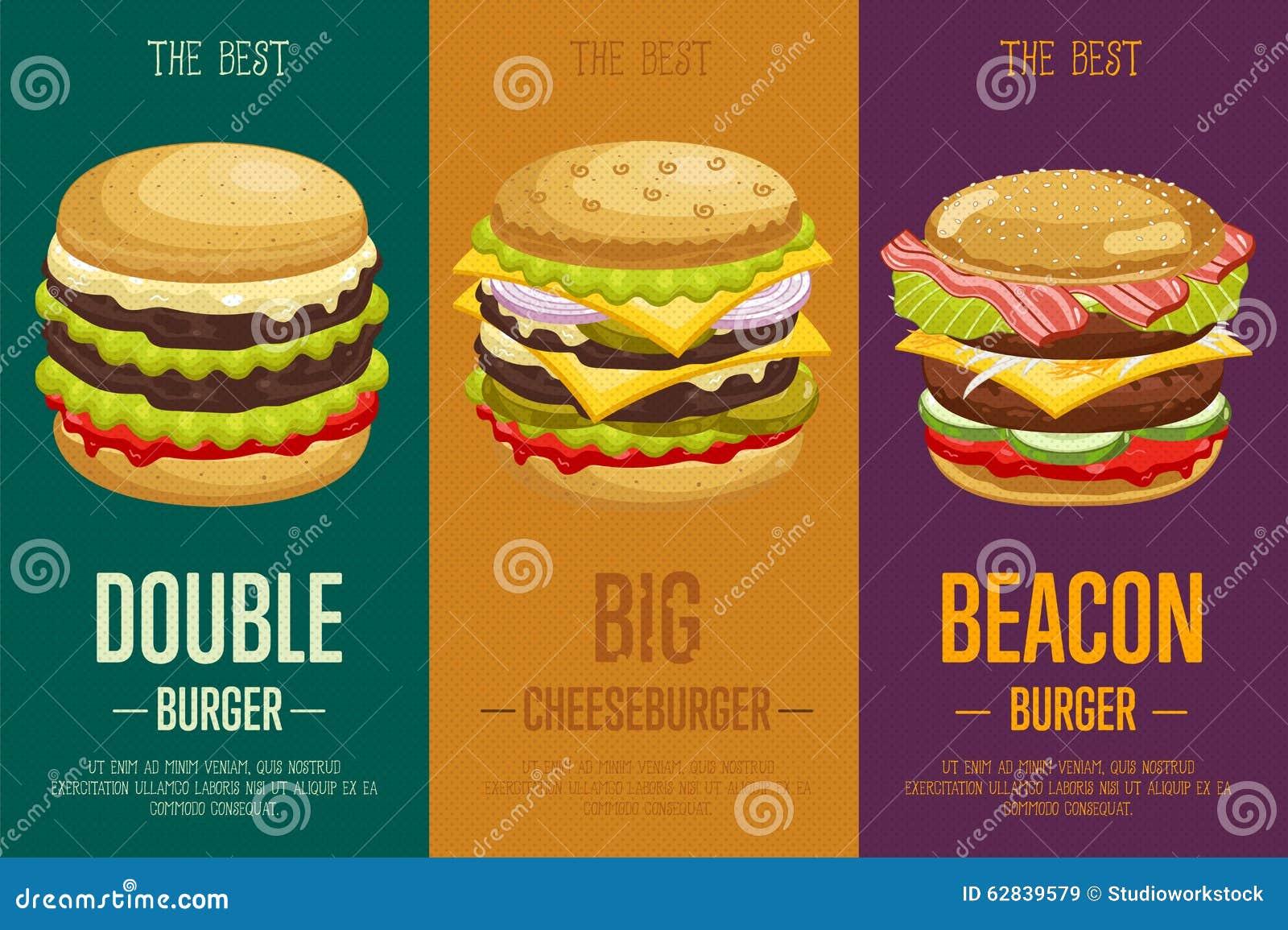 burgers menu template  stock vector