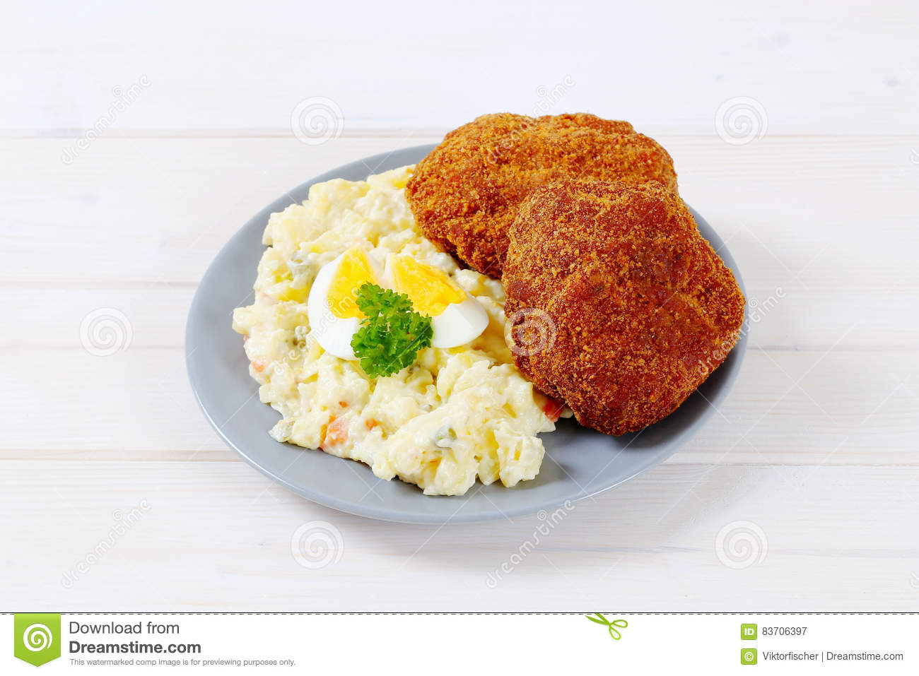 Burgers With Potato Salad Stock Photo