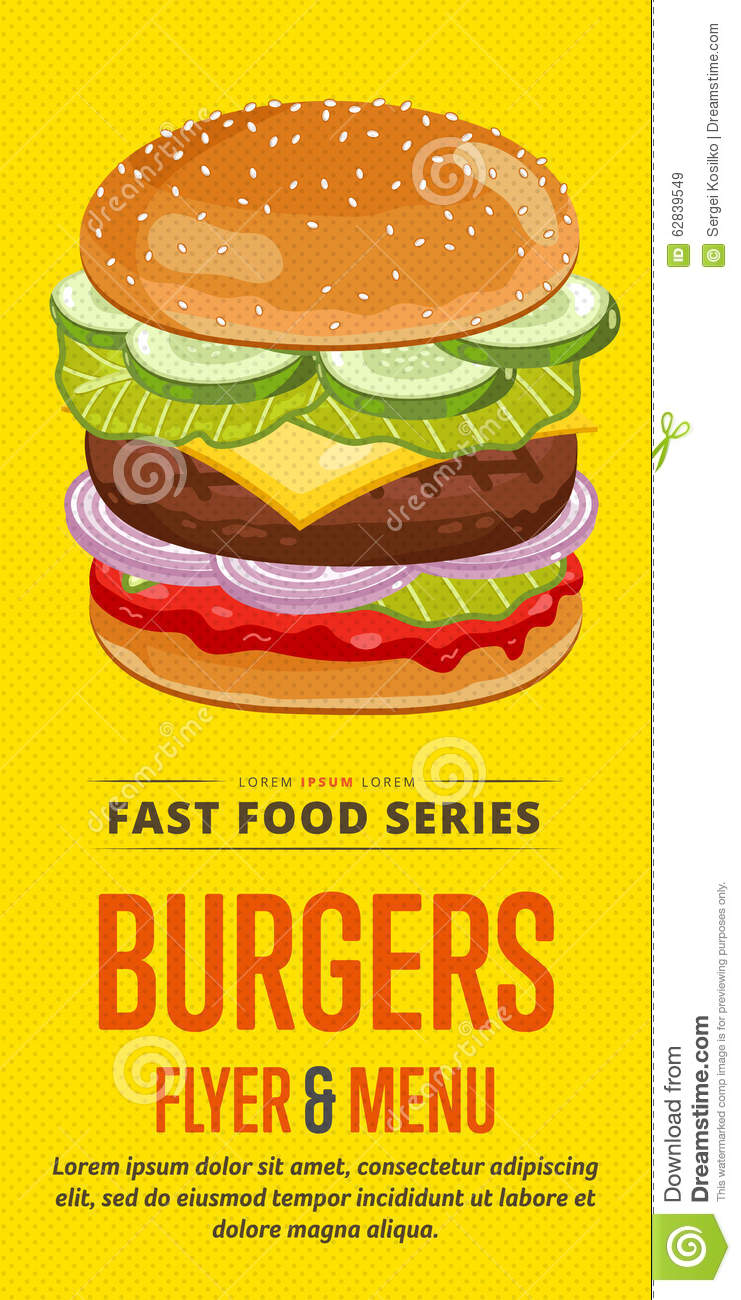Food Sale: Burgers Sale Flyer. Stock Vector. Illustration Of Icon