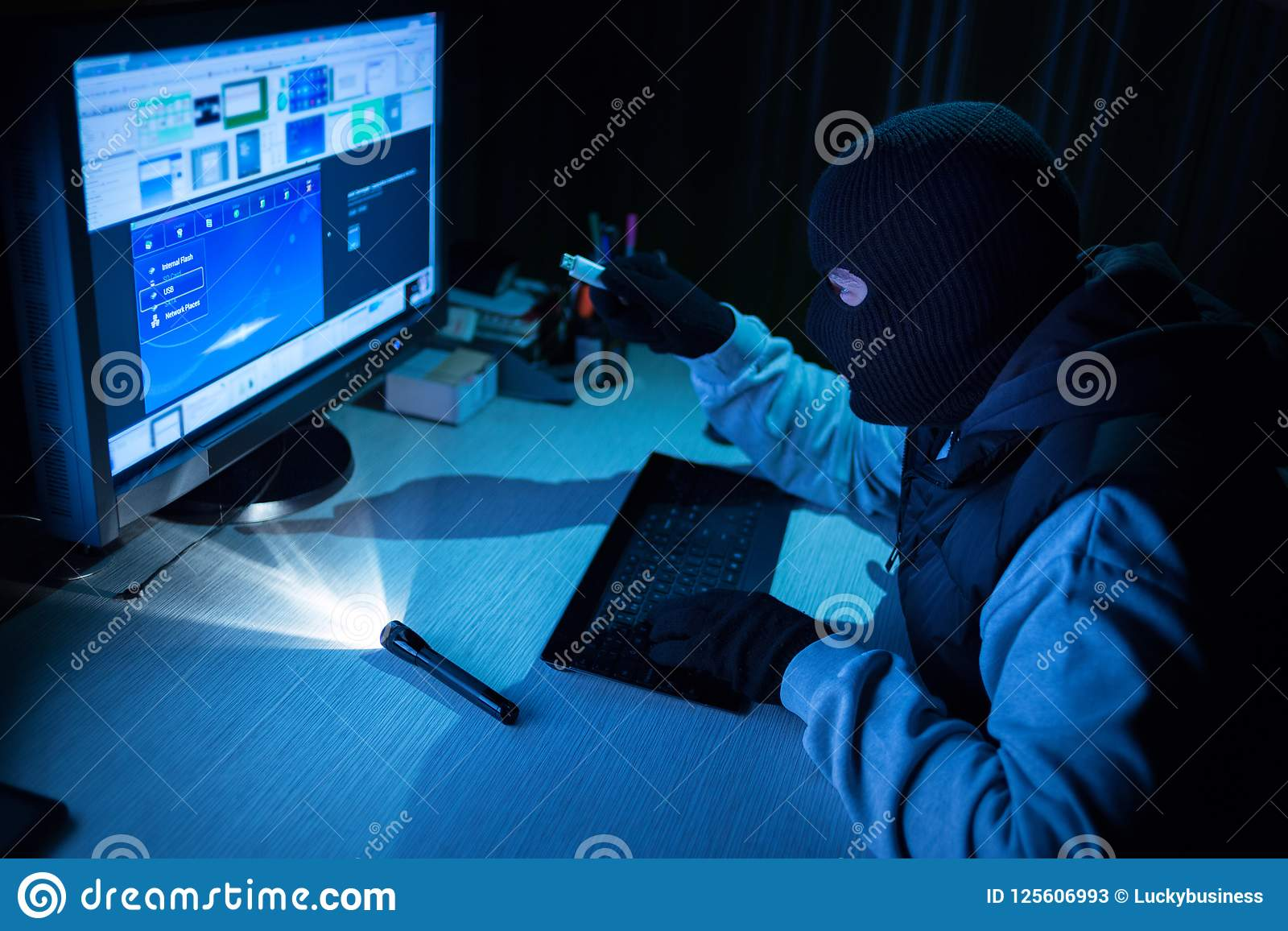 Burglar hacker entered password to broke into a computer