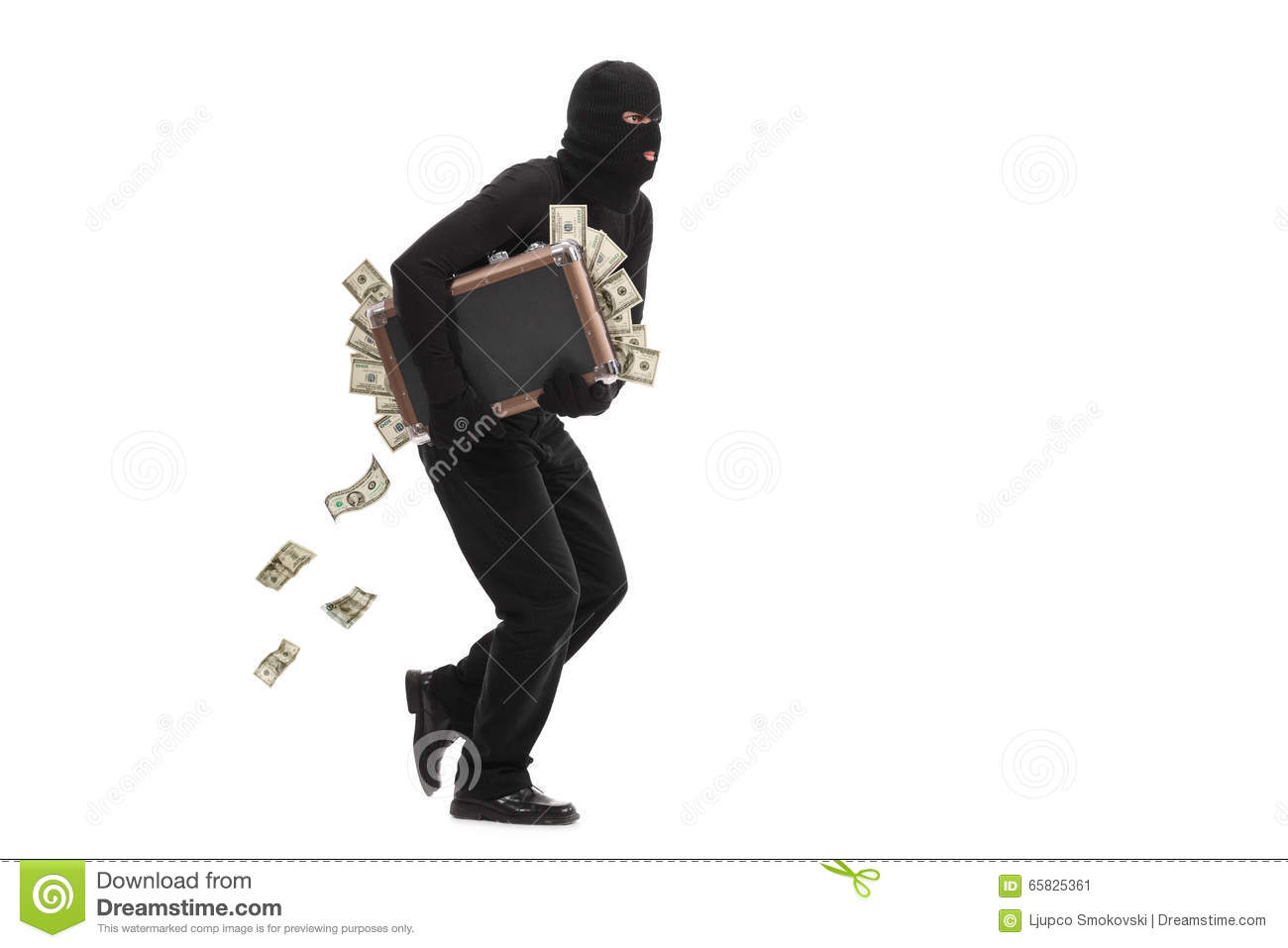 Burglar running with a bag full of money