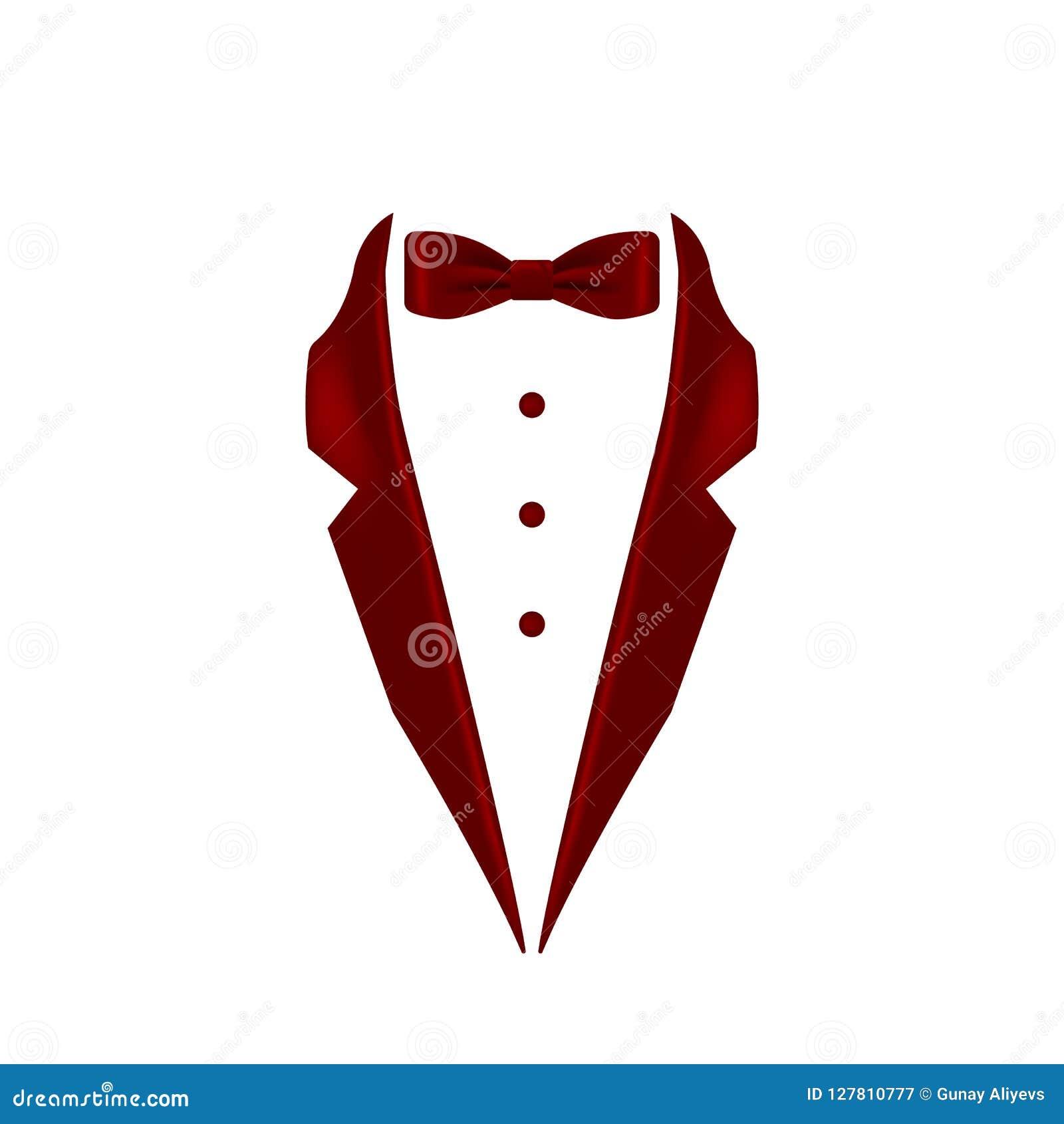 Burgunder färbte Fliegensmokings-Kragenikone Element der Abendmännerkleidungsillustration Erstklassige Qualitätsgrafikdesignikone