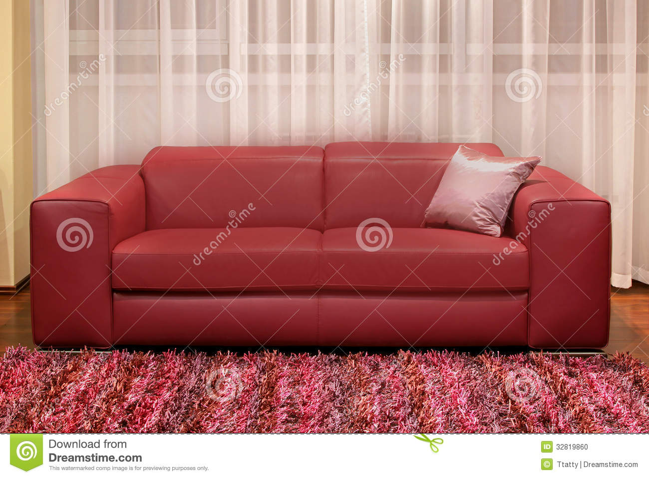 Burgundy Couch Stock Photo Image Of Interior Living 32819860
