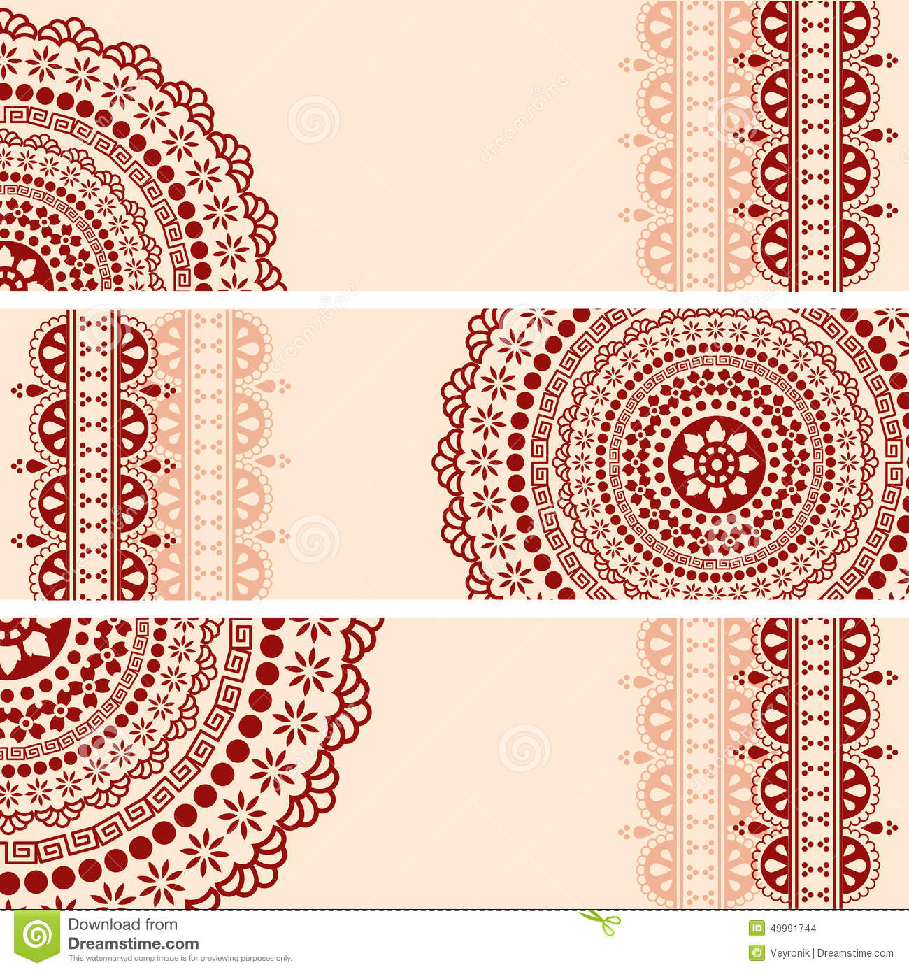 Free ornamental mandala vector download free vector art stock - Burgundy And Cream Oriental Henna Mandala Horizontal