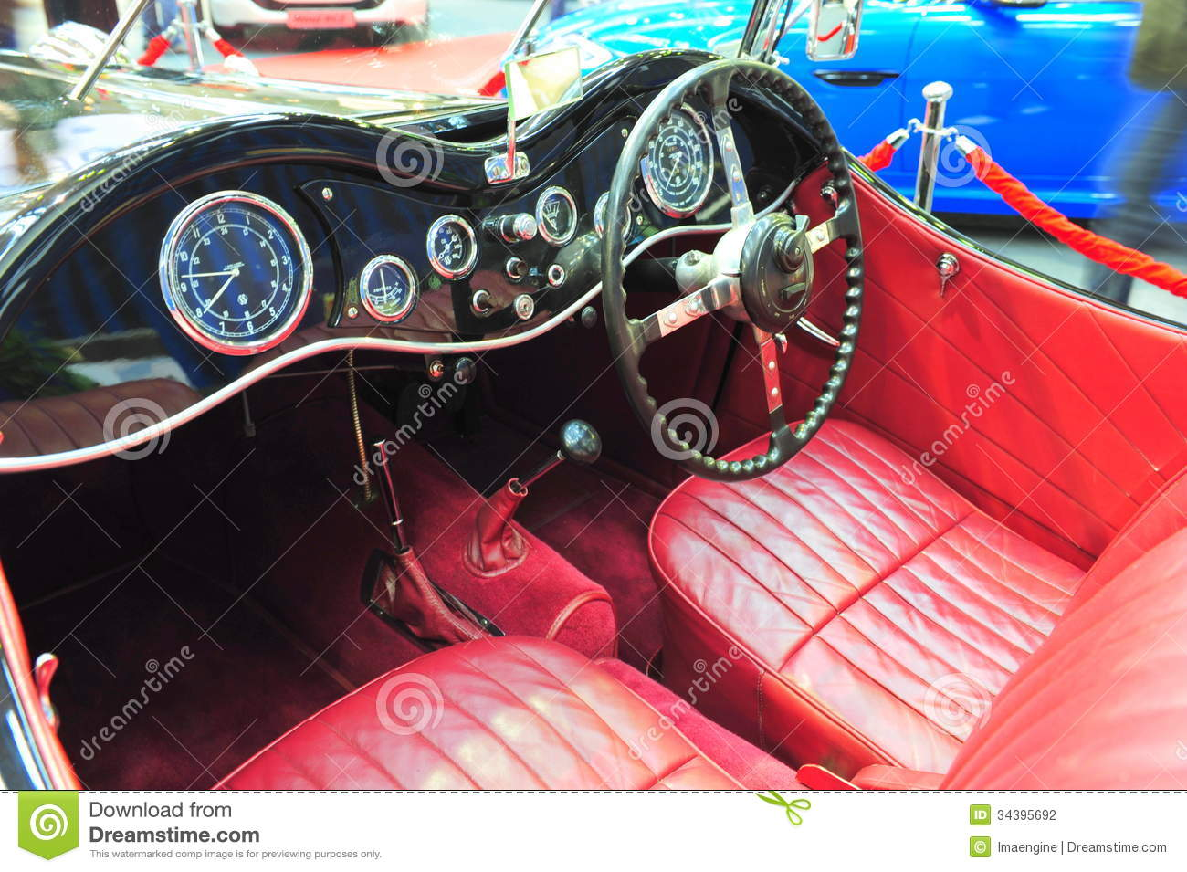 Burgundy Leather Interior Of An Old Jaguar Convertible Car Stock ...
