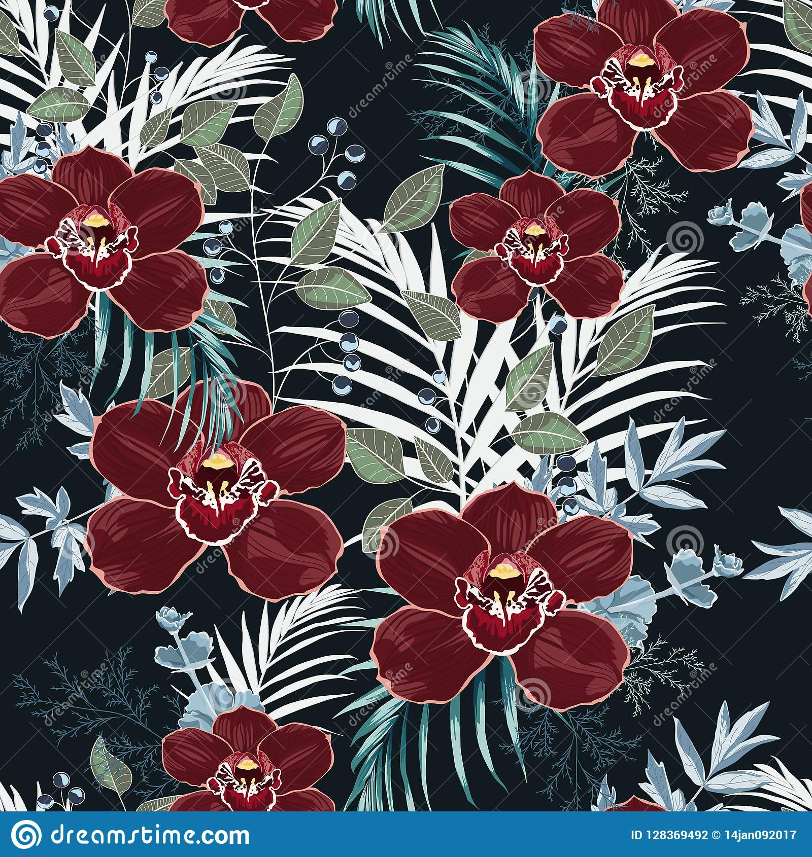 Burgundy orchid, herbs, berries, palm leaves and greenery seamless pattern.