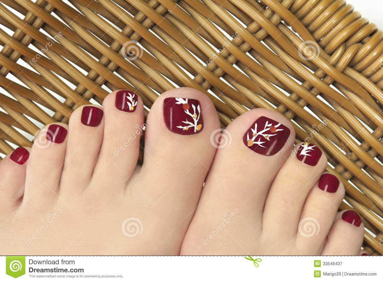 burgundy pedicure  royalty free stock photography