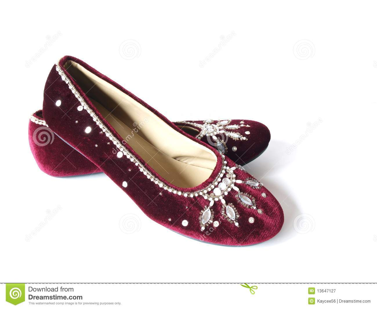 Burgundy Velvet Flat Shoes Stock Image Image Of Shoes