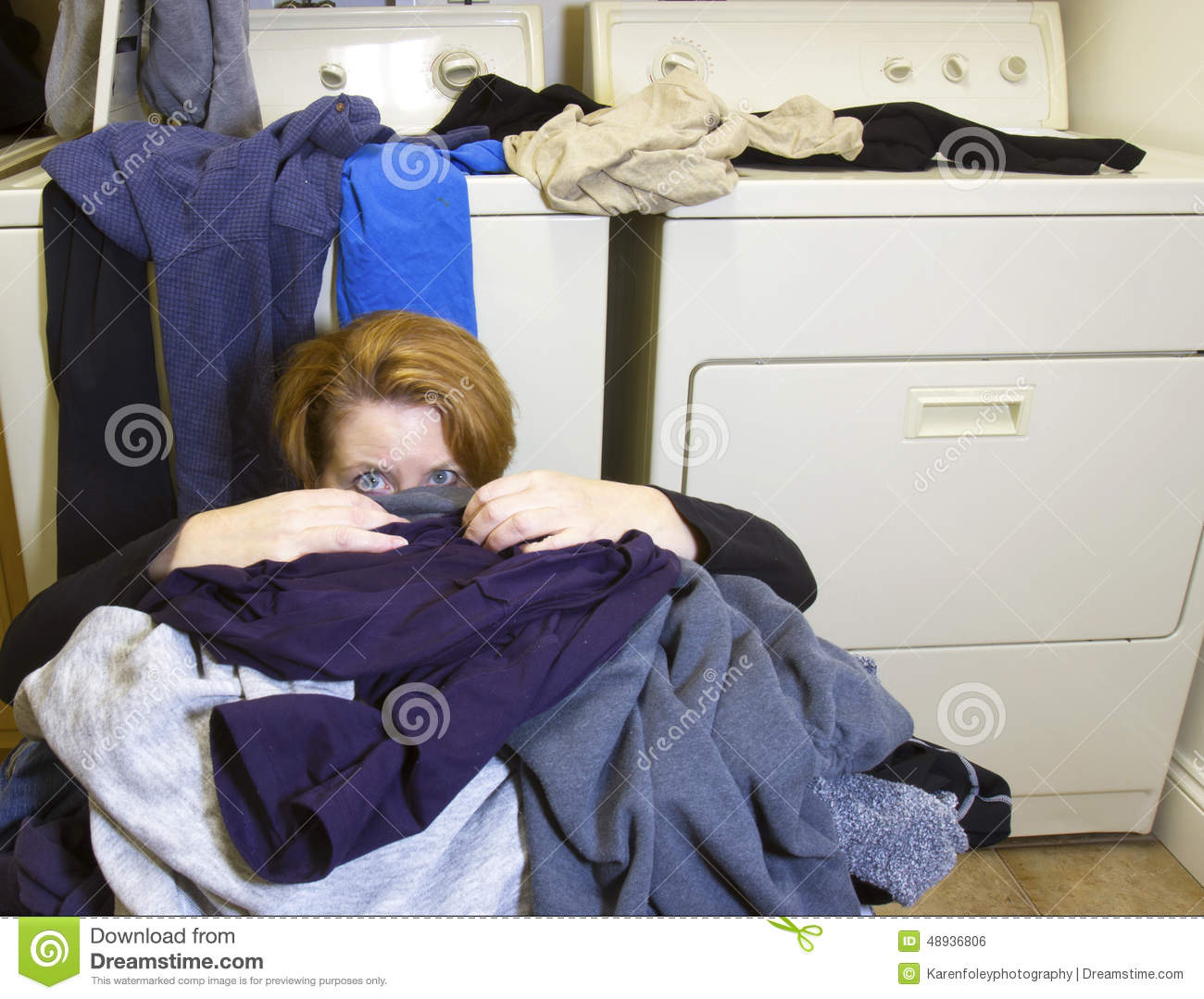 Stock Photo Buried Laundry Mature Woman Sitting Floor Front Washer Dryer Room Covered Dirty Clothes Image48936806 on Washer And Dryer Room Floor Plans