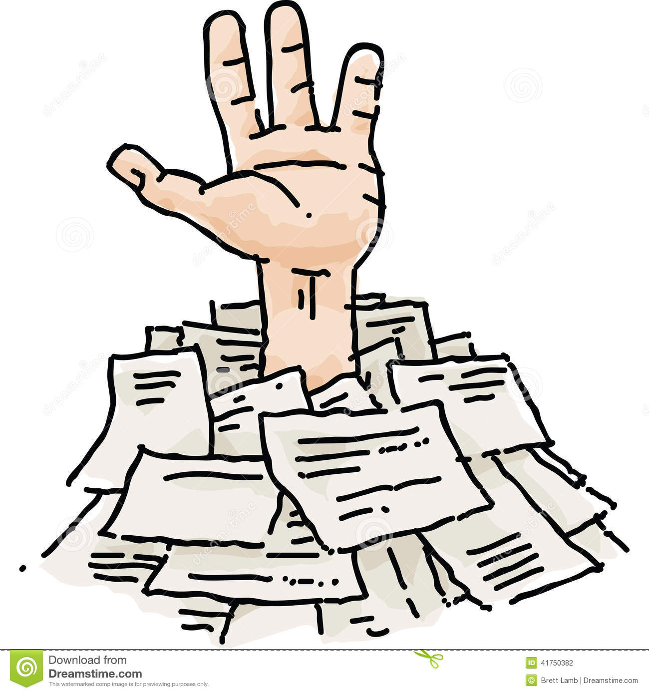 buried in paperwork stock illustration. illustration of reaching