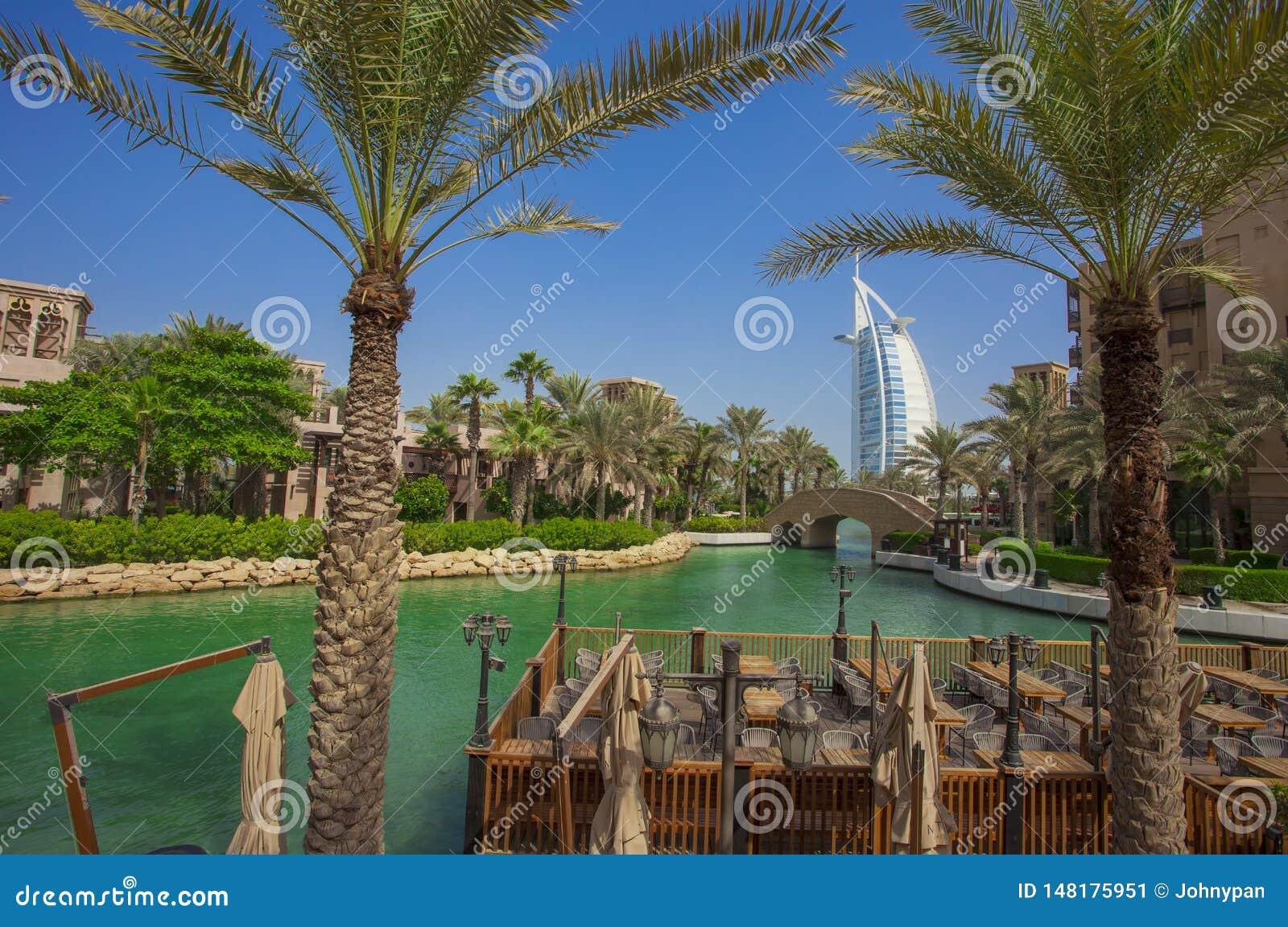 Burj Al Arab Famous Hotel And Palm Trees In The Dubai City Resort Editorial Photo Image Of Arab 2020 148175951