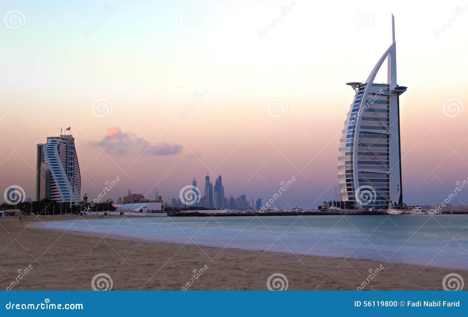 Burj al arab 7 star hotel dubai sunrise stock photo for Burj al arab 7 star hotel