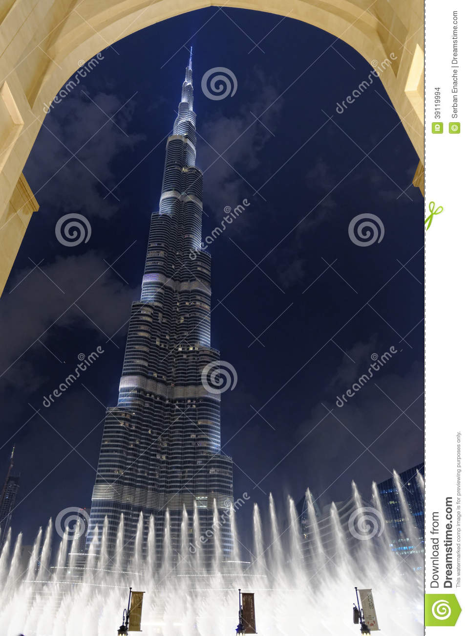 Download Burj Al Khalifa And Fountains Stock Photo - Image of dubai, framed: 39119994