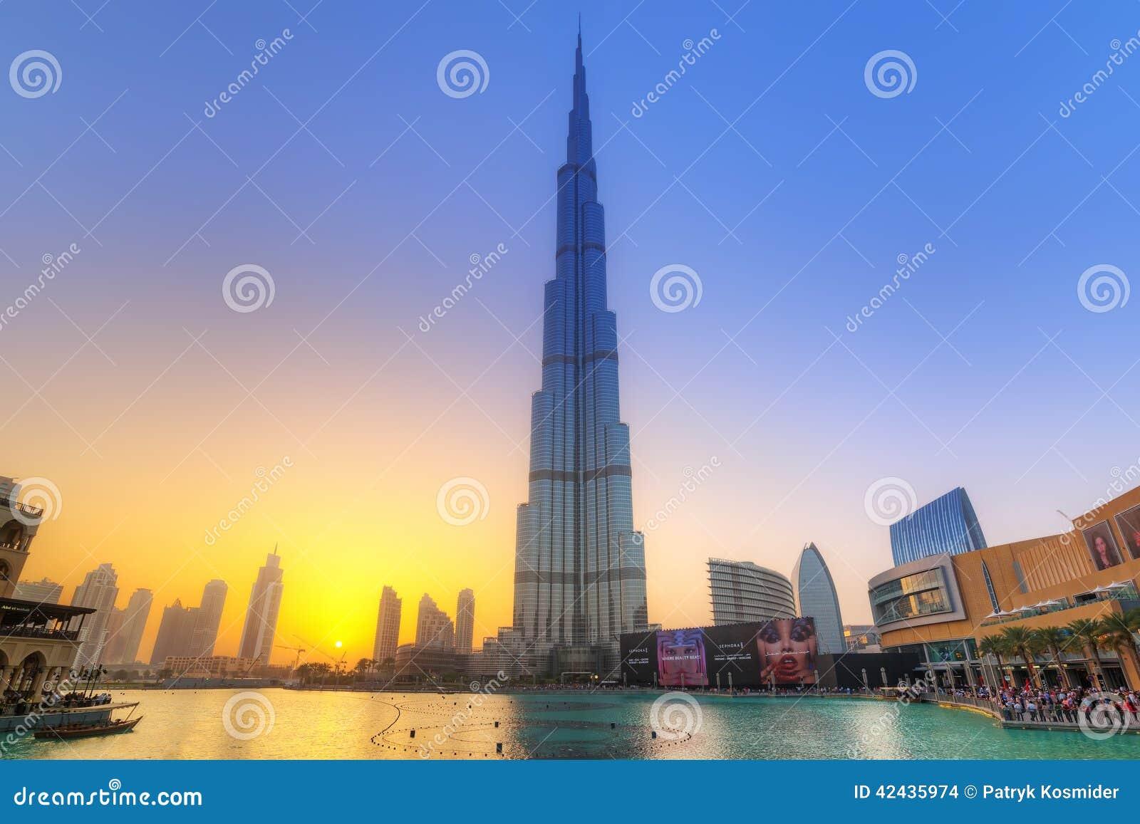 Burj Khalifa in Dubai at sunset, UAE