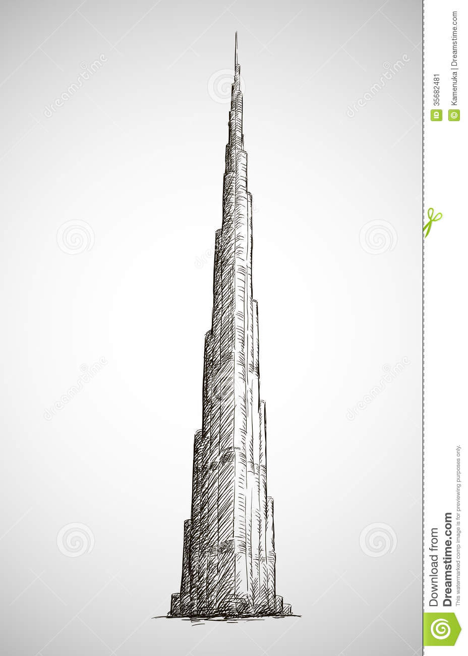 Burj khalifa vector drawing sketch style stock image for Burj khalifa sketch