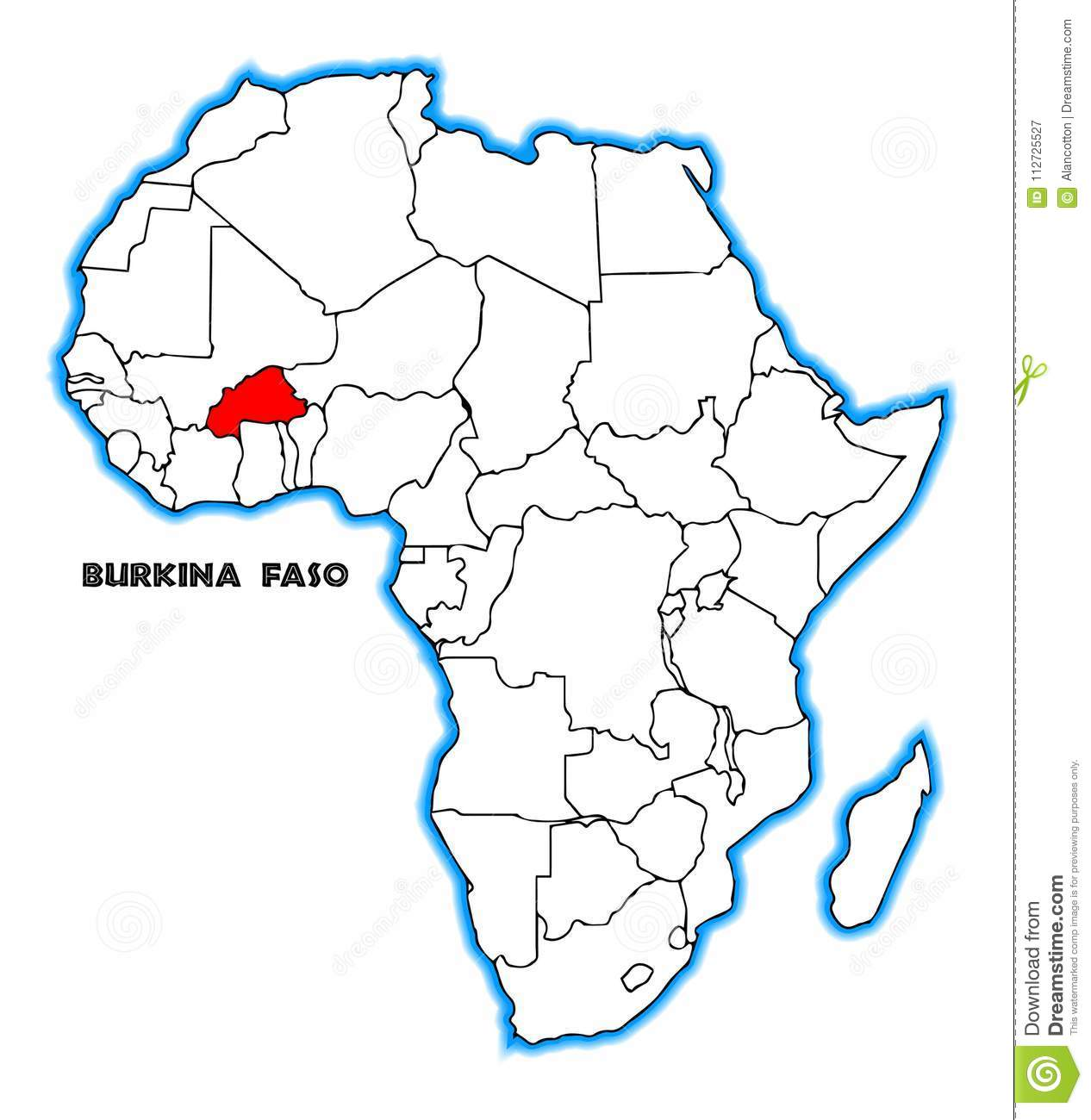 Burkina Faso Africa Map stock vector. Illustration of africa